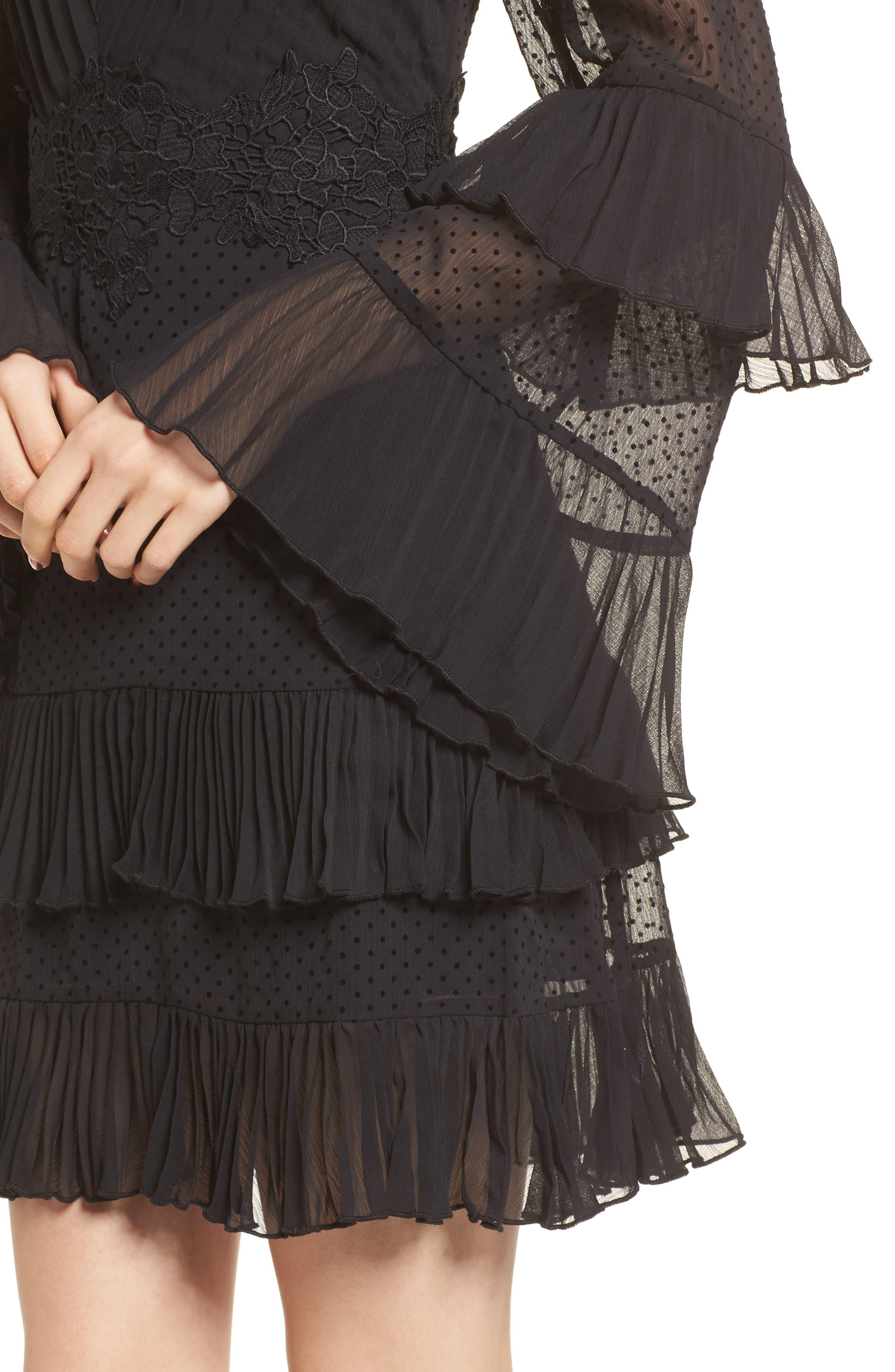 Horizons Bell Sleeve Minidress,                             Alternate thumbnail 5, color,                             Black