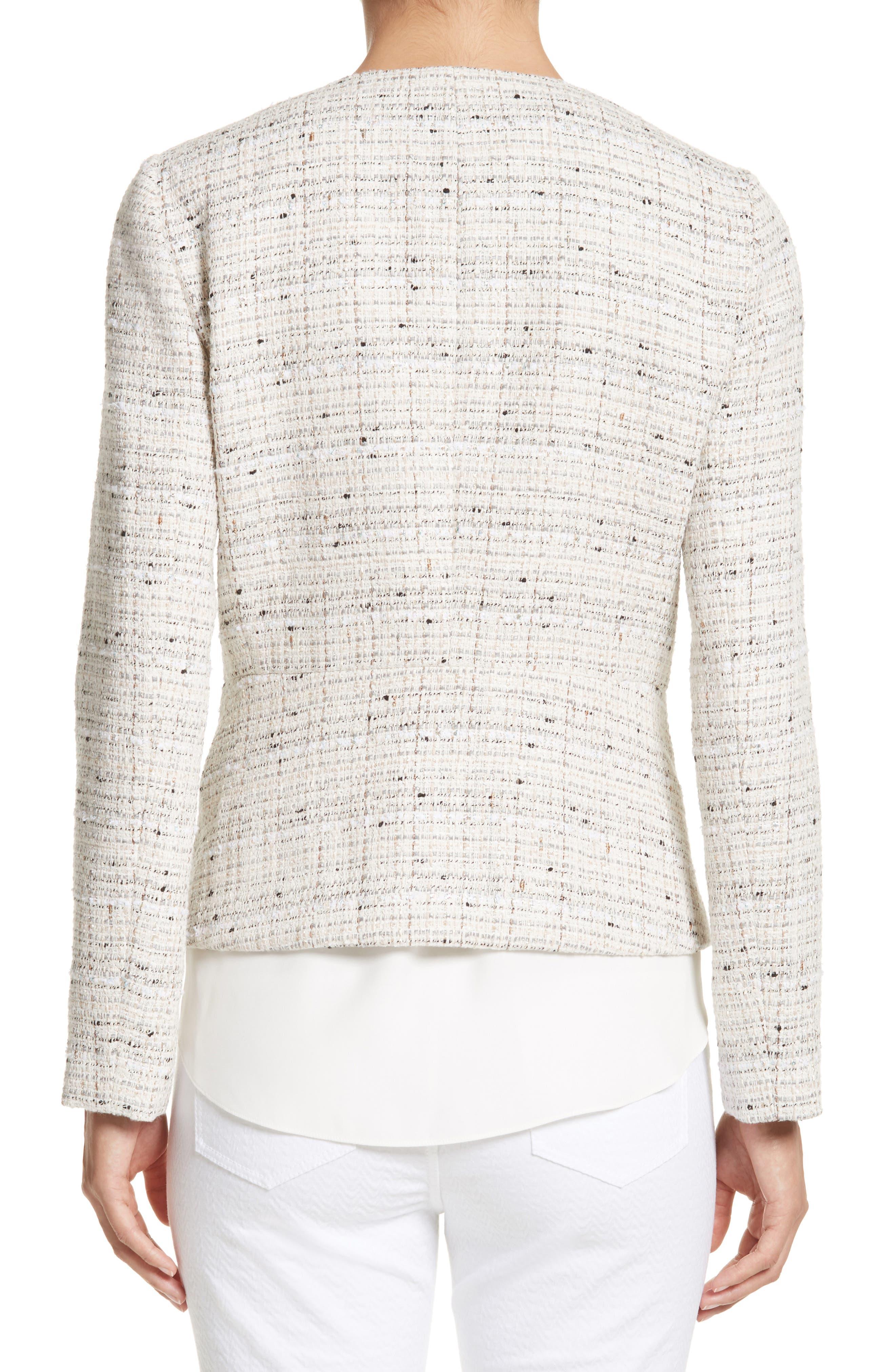 Emelyn Tweed Jacket,                             Alternate thumbnail 3, color,                             Raffia Multi