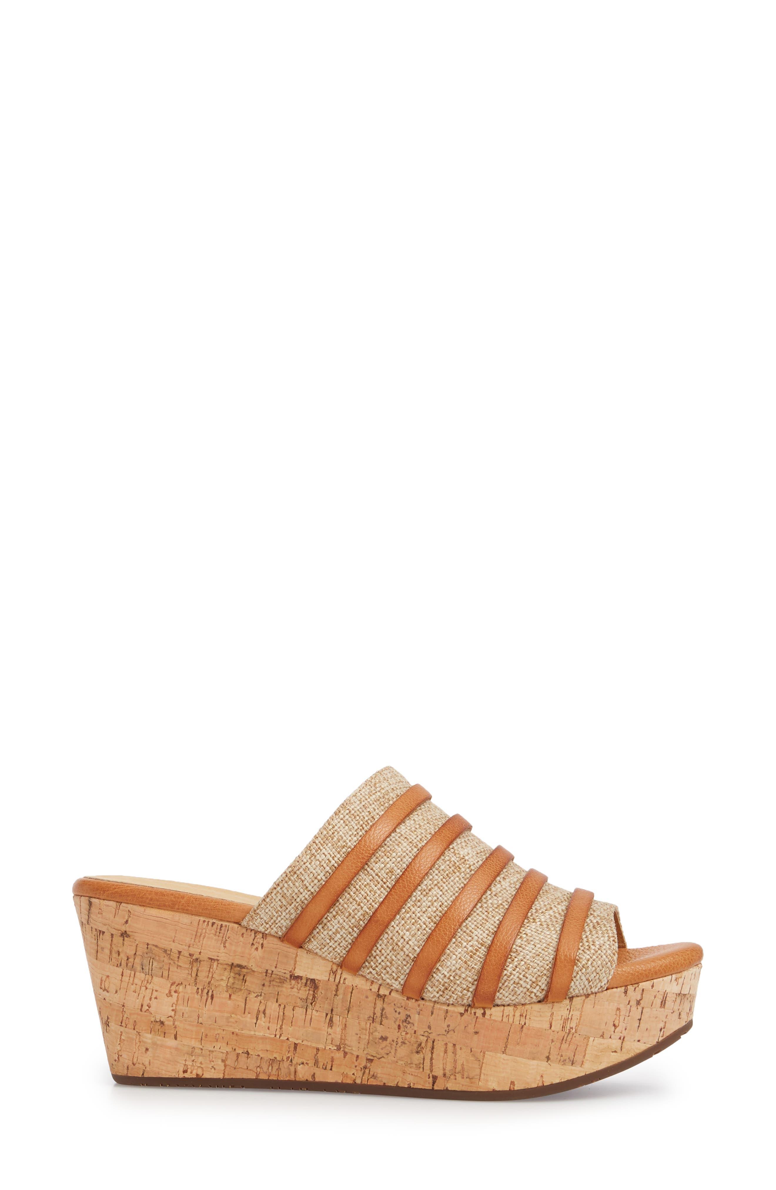 Wapi Wedge Sandal,                             Alternate thumbnail 3, color,                             Camel Leather