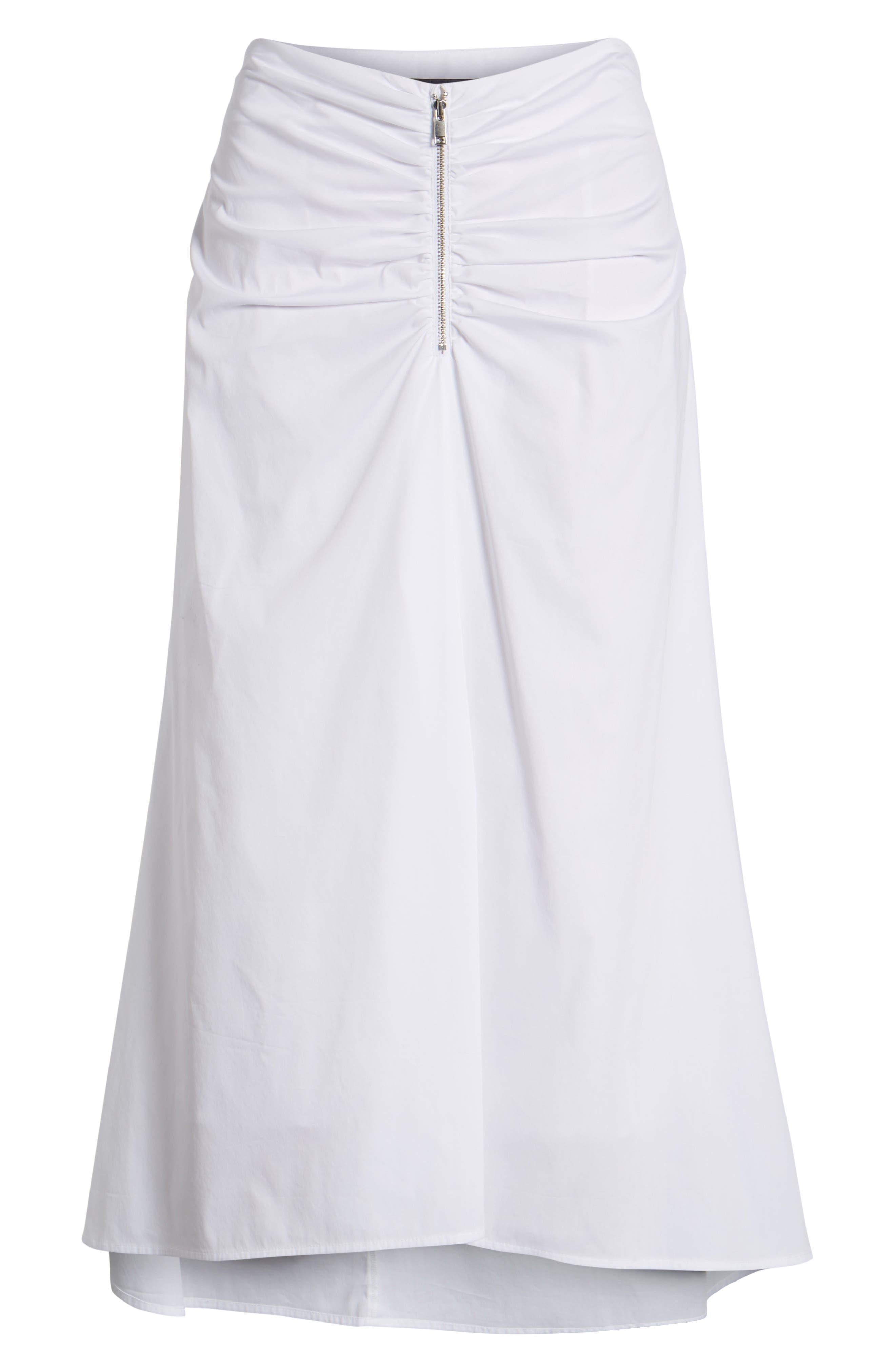 Ruched Front Midi Skirt,                             Alternate thumbnail 6, color,                             White