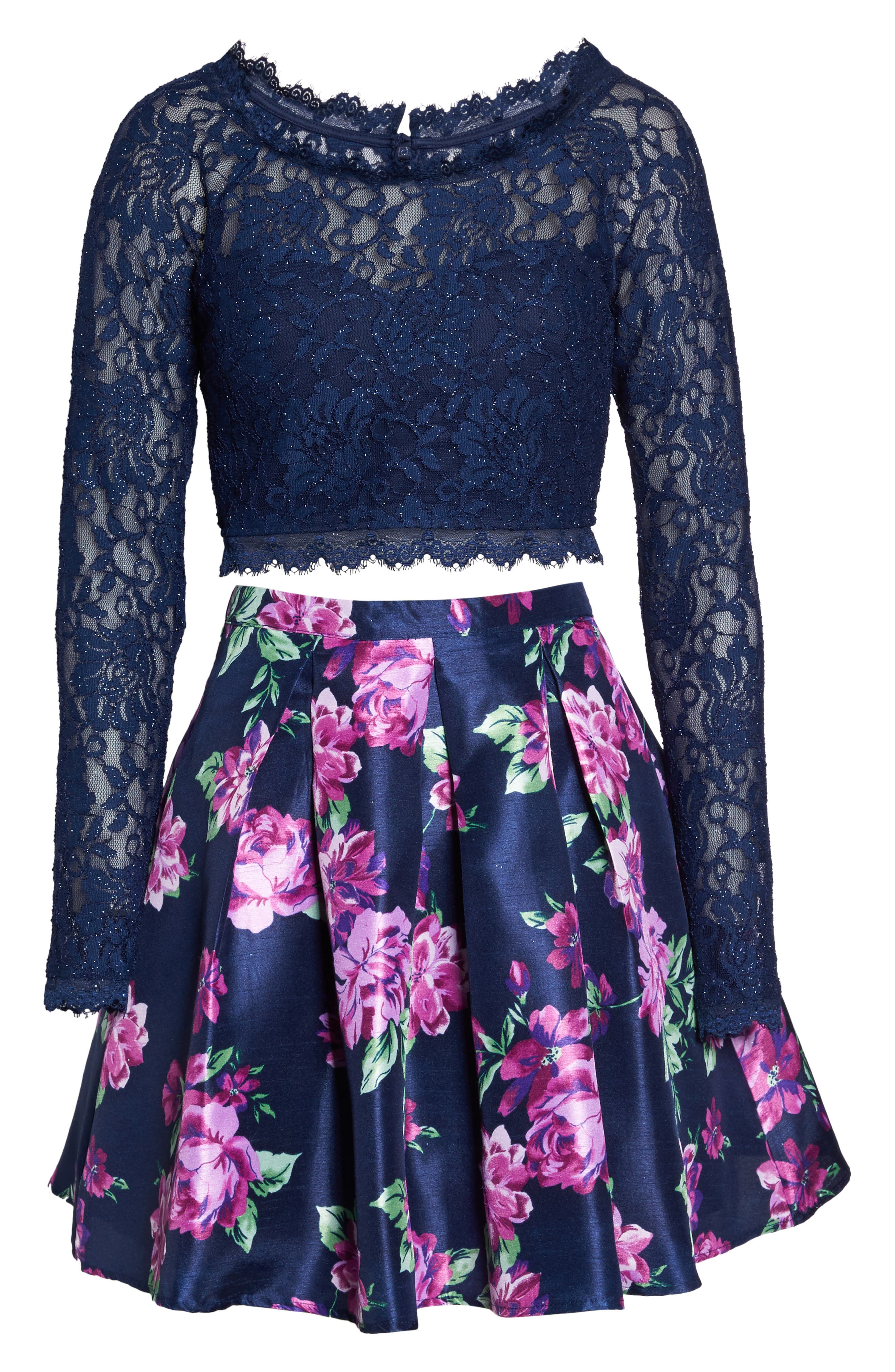 Glitter Lace Two-Piece Dress,                             Alternate thumbnail 6, color,                             Navy/ Violet