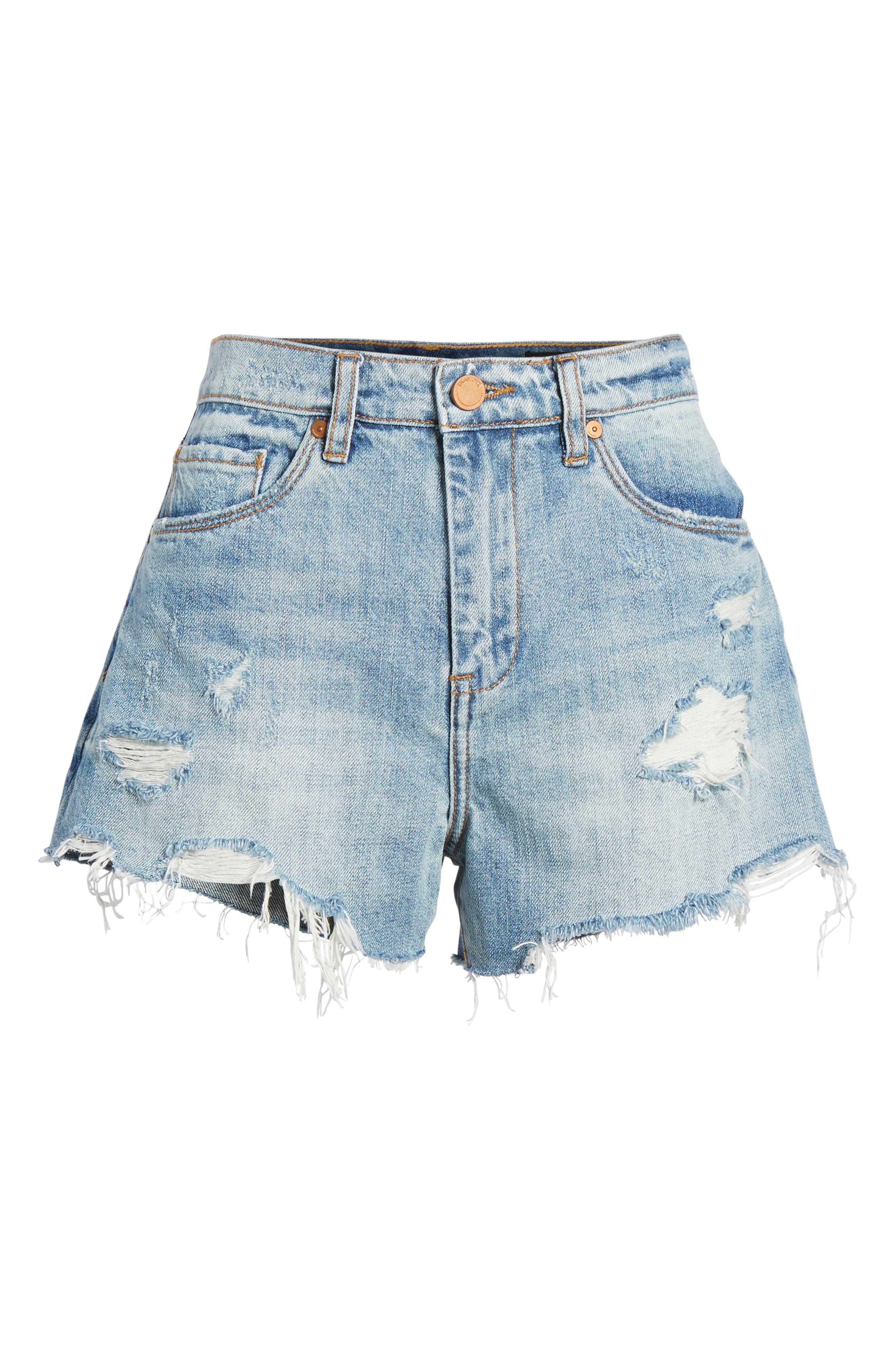 Panic Prevention Ripped Cutoff Denim Shorts,                             Alternate thumbnail 6, color,                             Blue