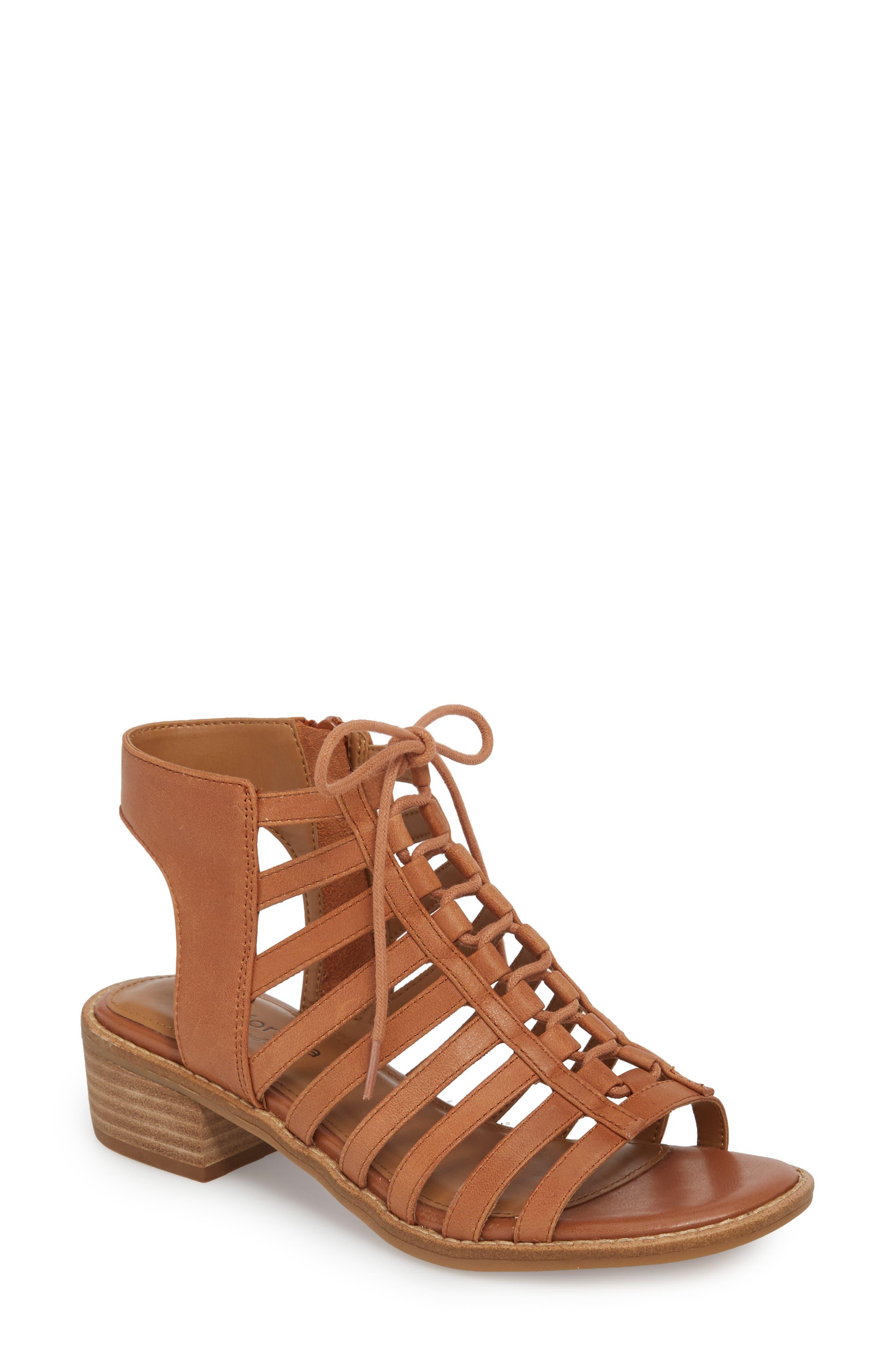 Blossom Sandal,                         Main,                         color, Walnut Leather