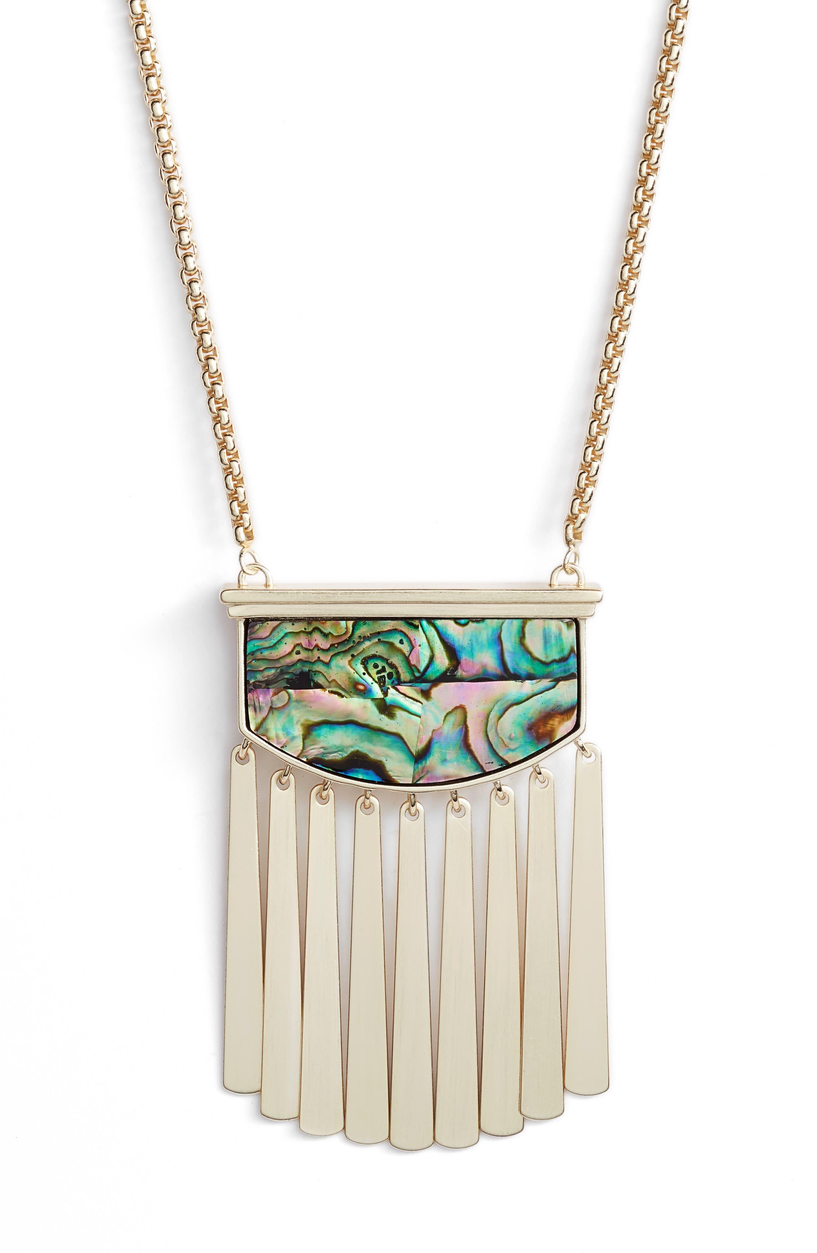 Ellen Stone Necklace,                             Alternate thumbnail 2, color,                             Abalone Shell/ Gold