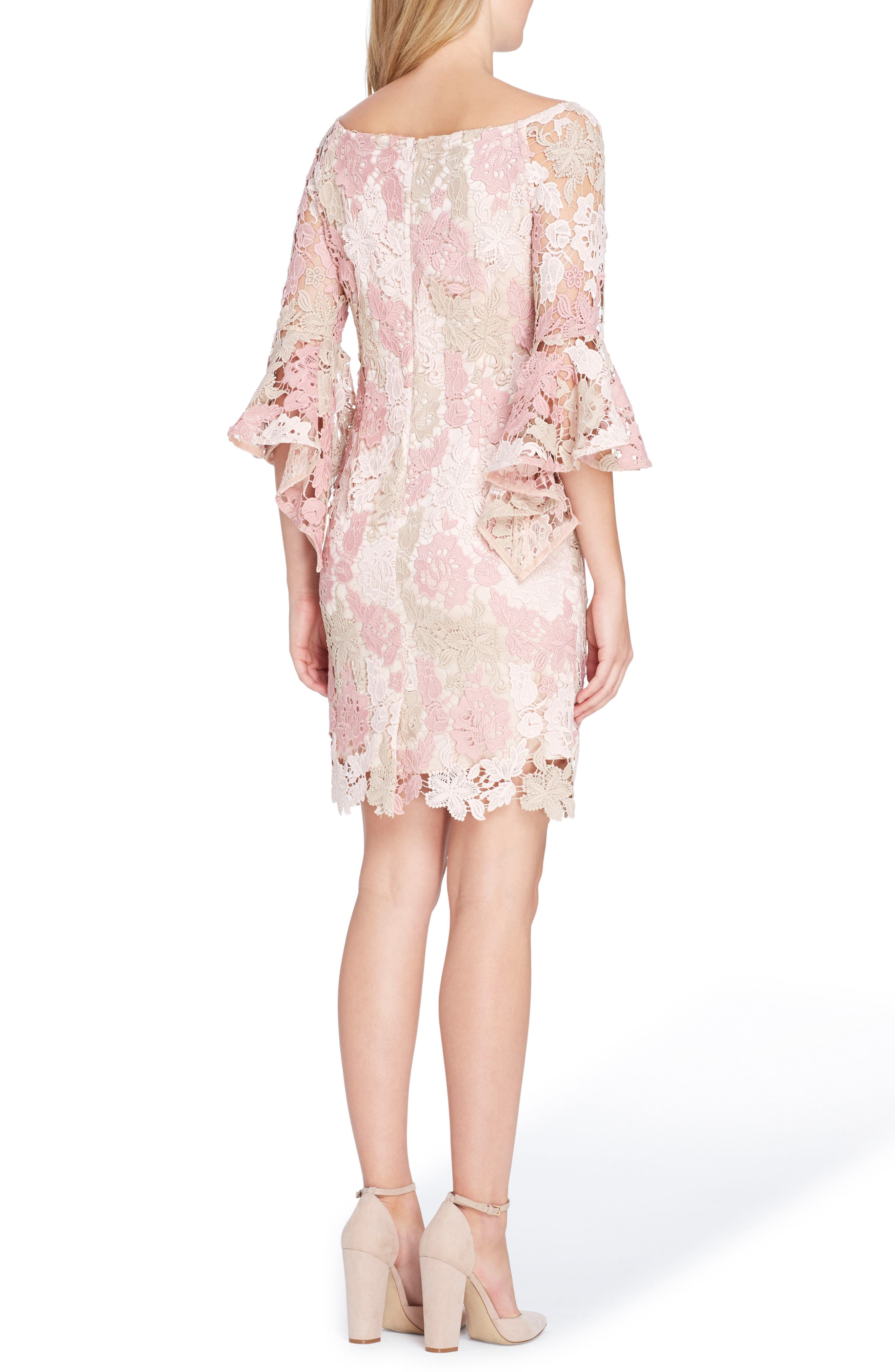 Lace Bell Sleeve Sheath Dress,                             Alternate thumbnail 2, color,                             Blush/ Rose/ Taupe