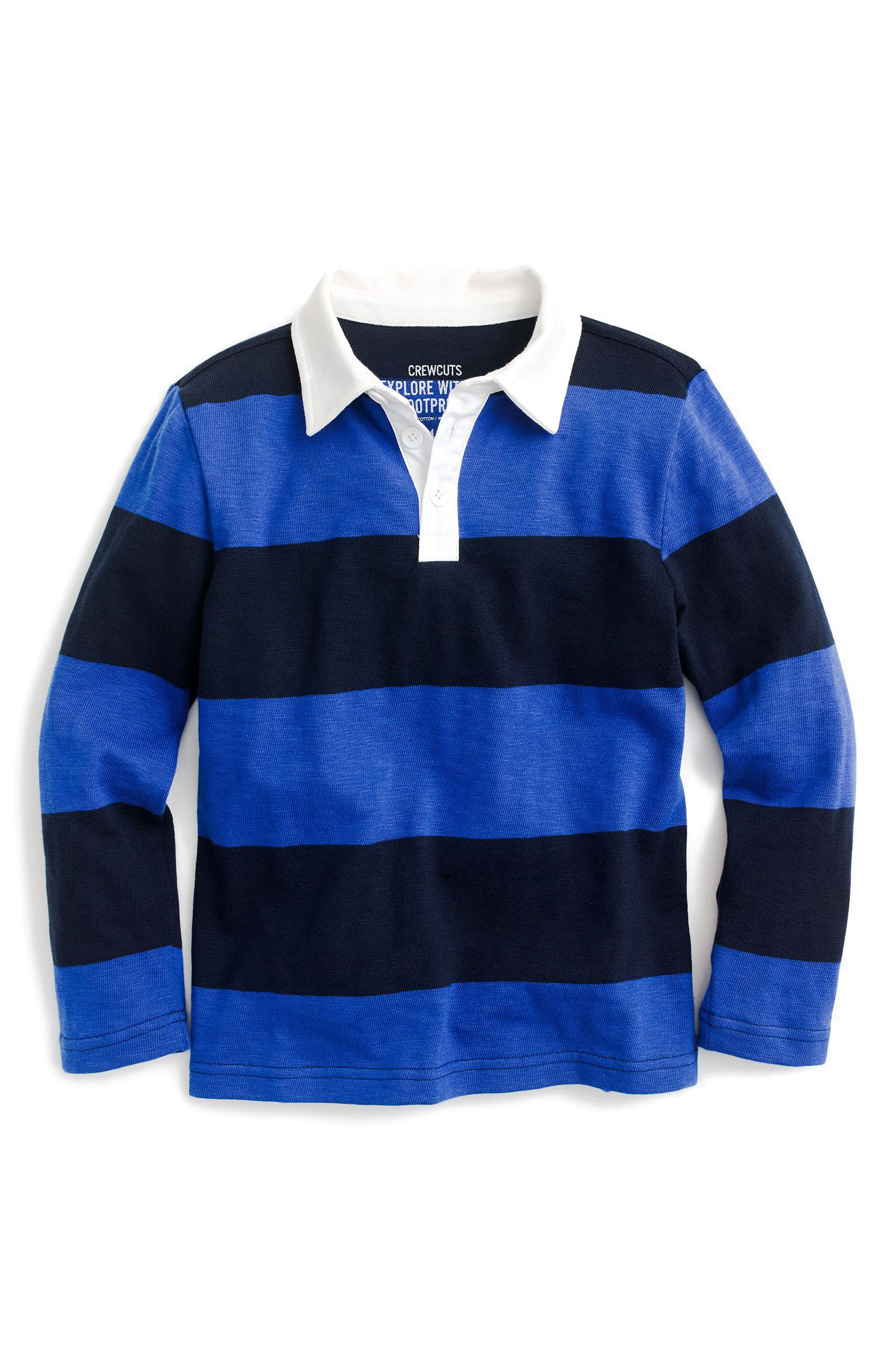 Striped Rugby Shirt,                         Main,                         color, Sapphire/ Navy