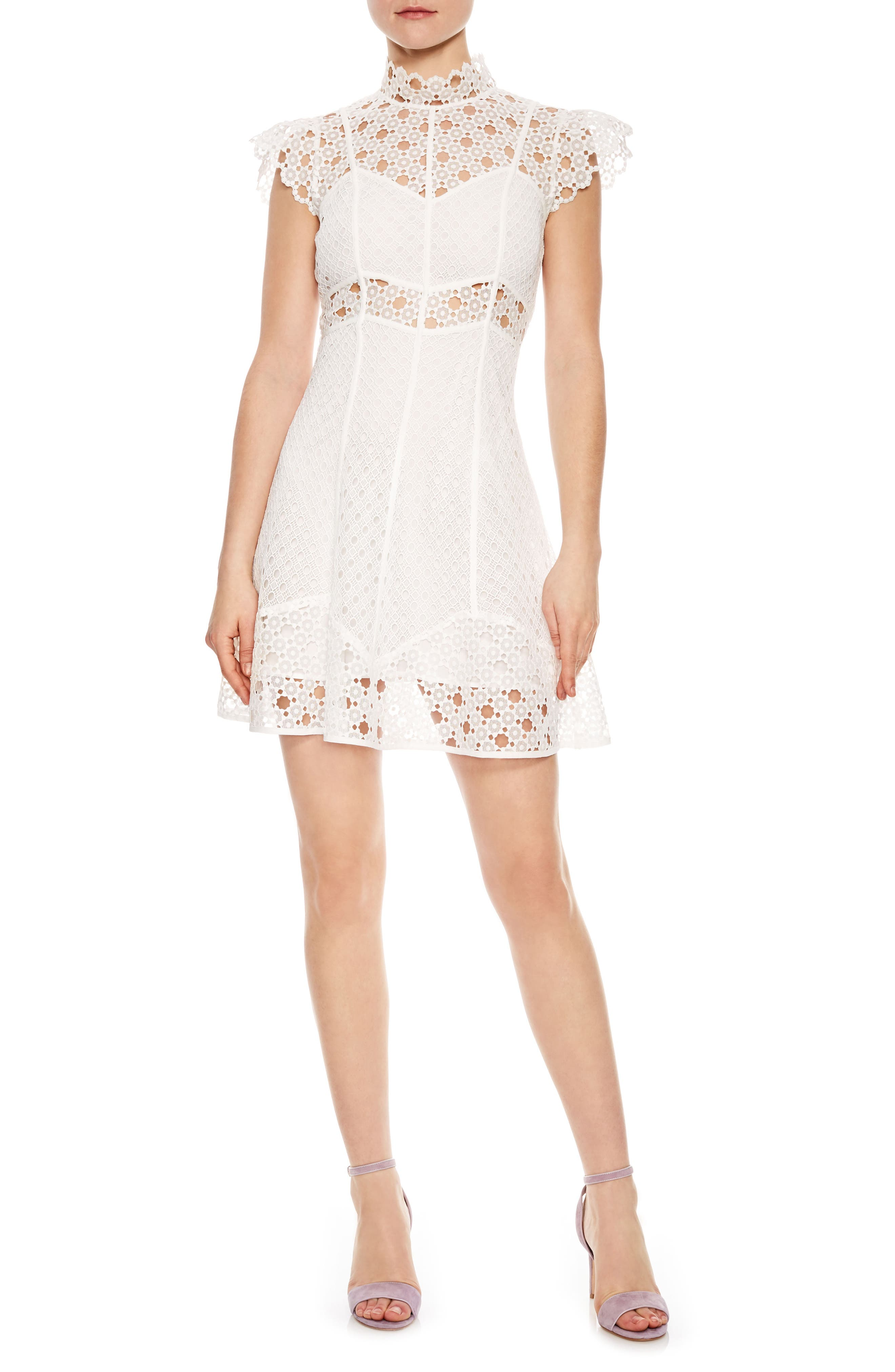 Lace Fit & Flare Dress,                         Main,                         color, Ecru