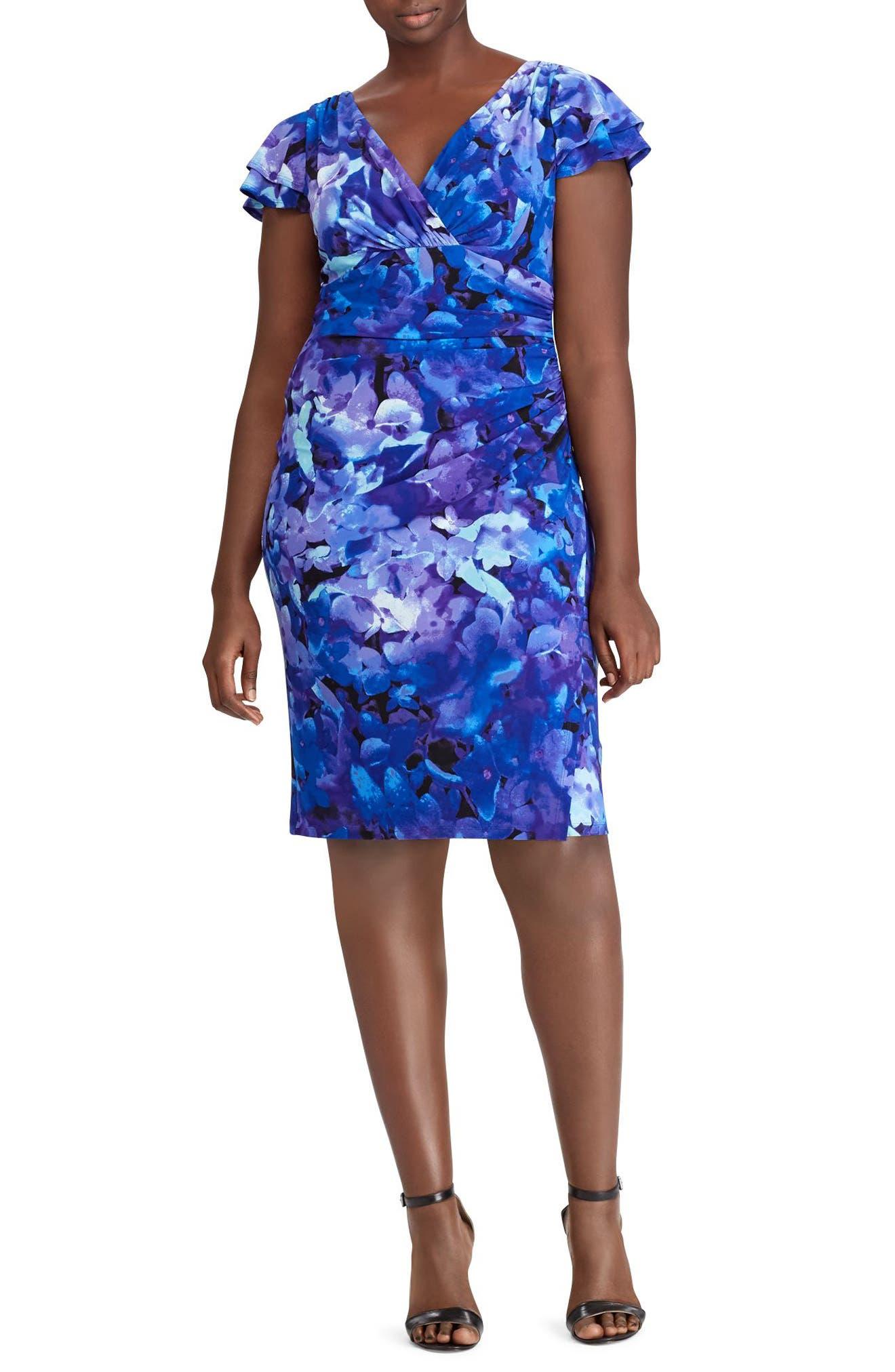 Floral Print Jersey Dress,                         Main,                         color, Blue-Purple-Multi