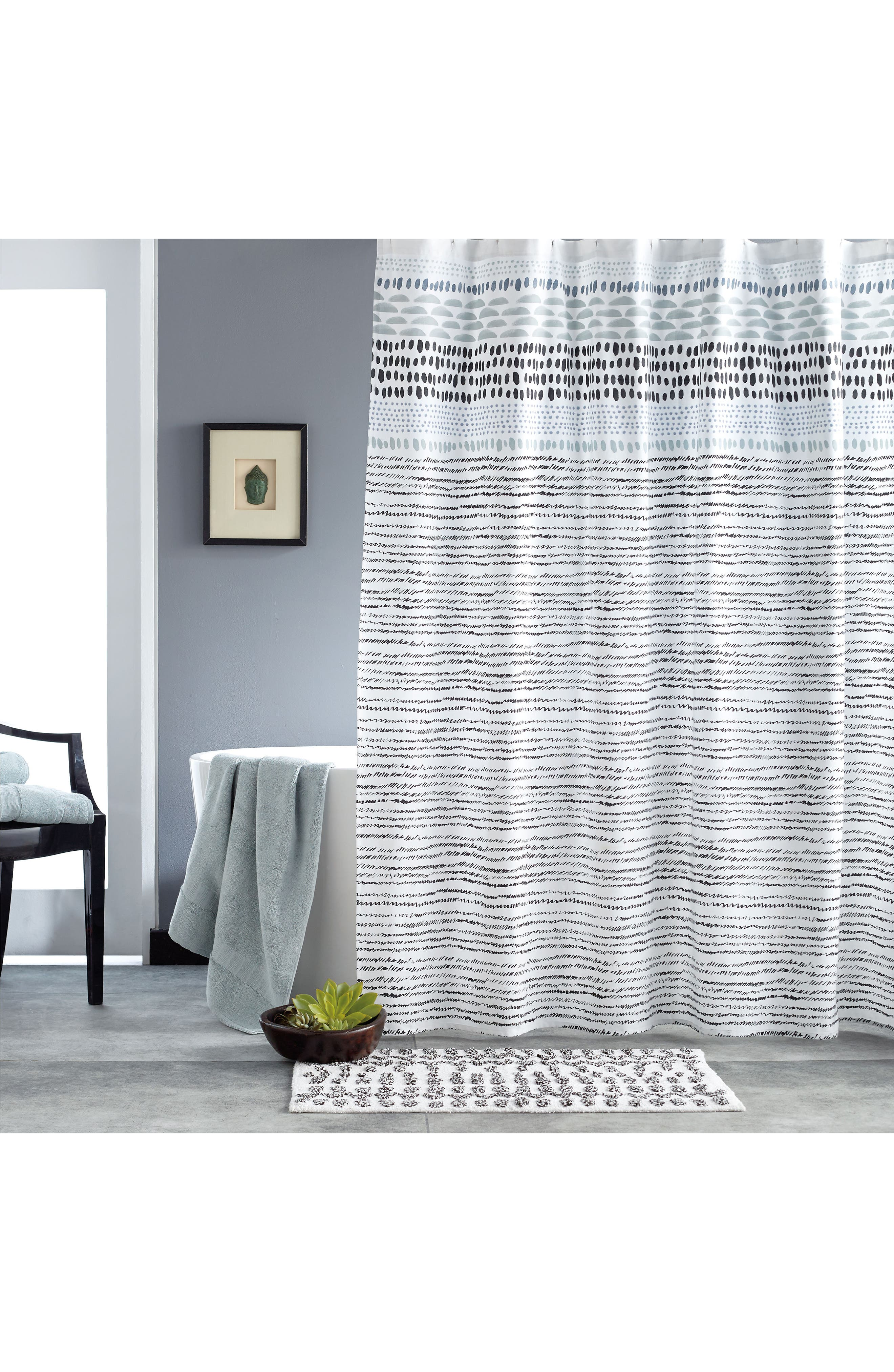 Vibe Shower Curtain,                         Main,                         color, Black/ White