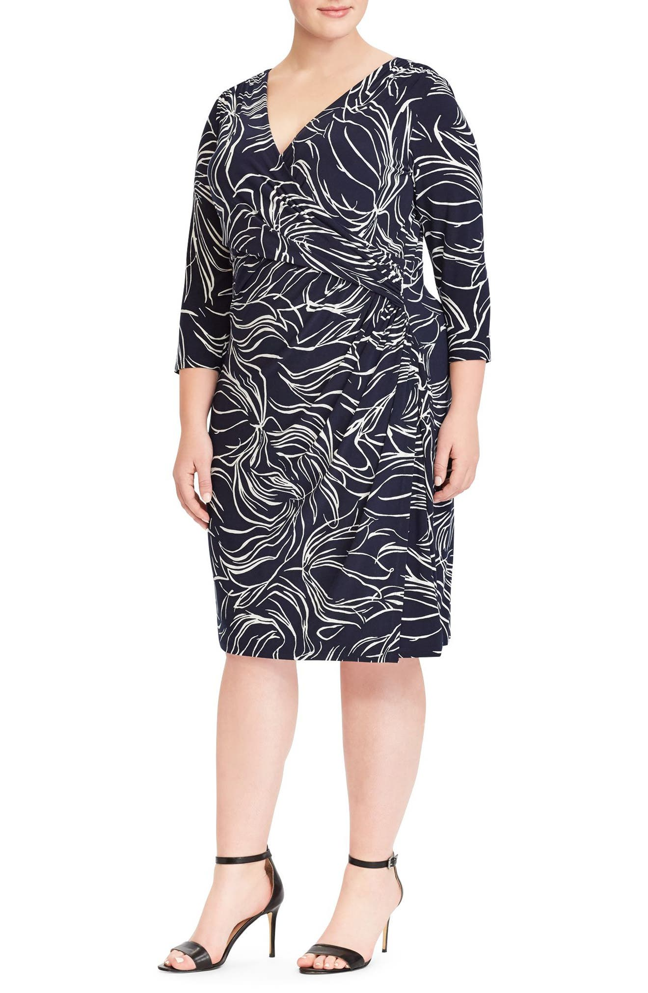Print Jersey Dress,                         Main,                         color, Lighthouse Navy-Colonial Cream