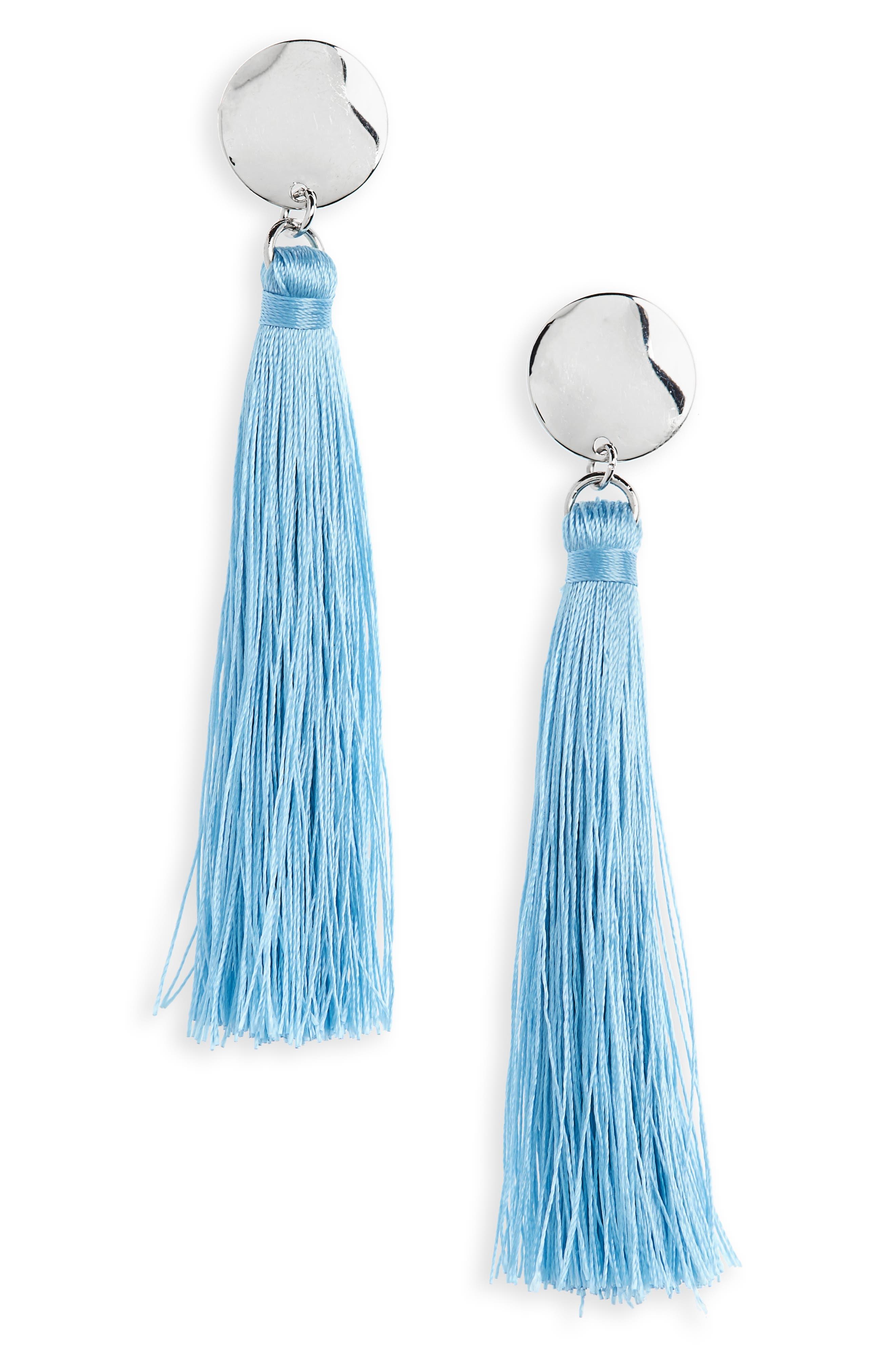 Topshop Disc Tassel Drop Earrings