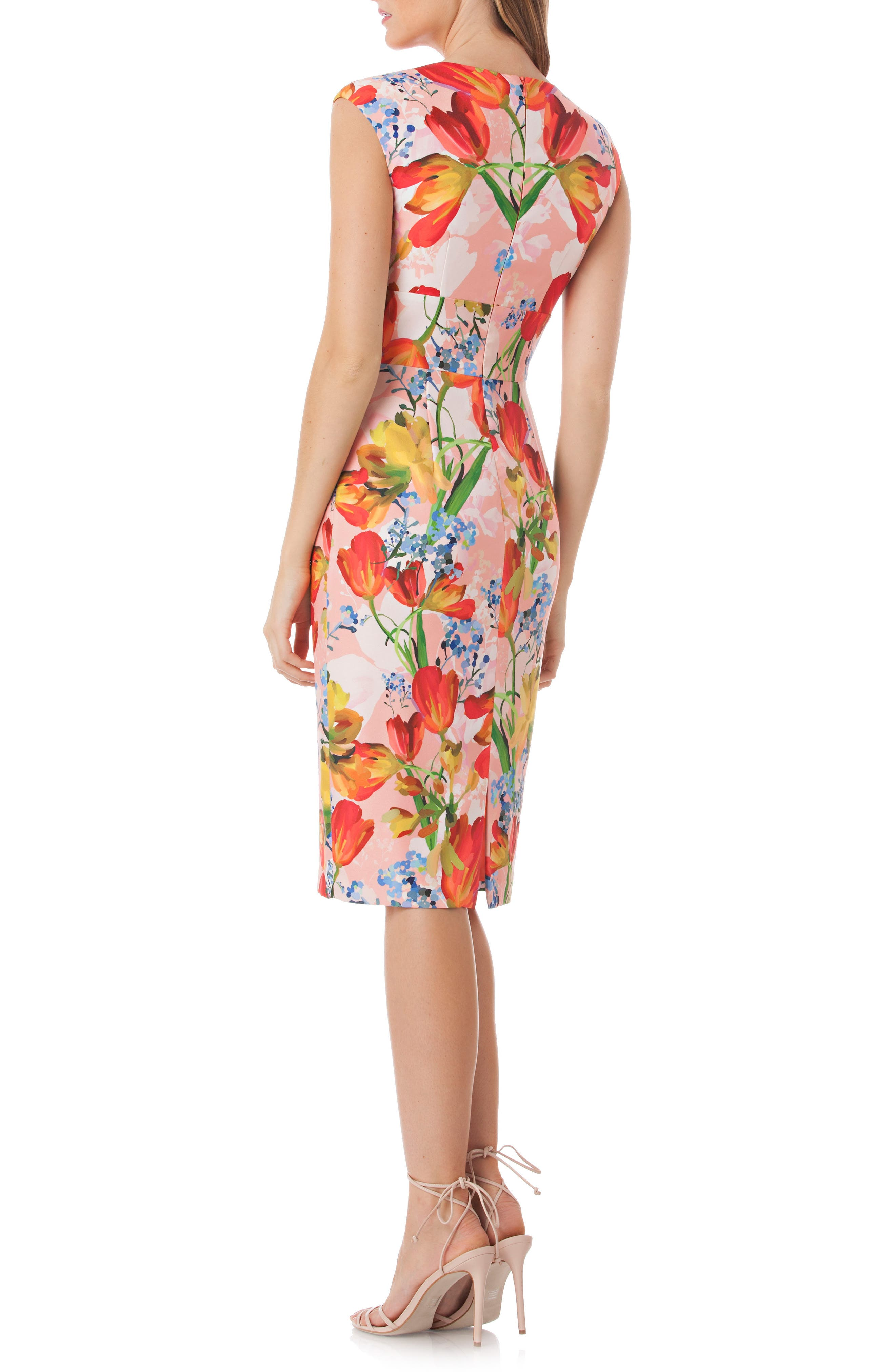 Floral Sheath Dress,                             Alternate thumbnail 2, color,                             Coral