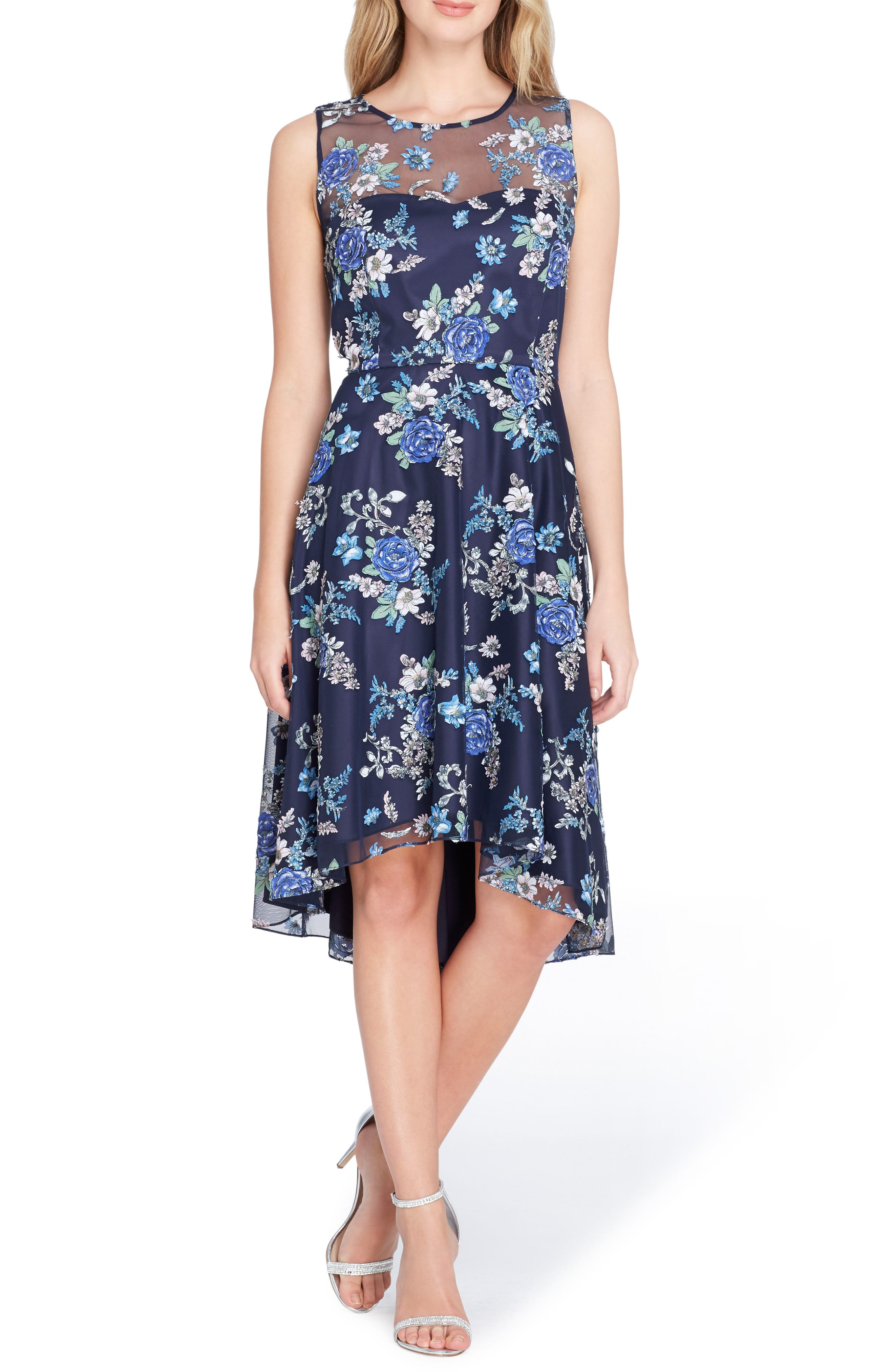 Embroidered Floral High/Low Dress,                             Main thumbnail 1, color,                             Navy/ Royal/ Ivory