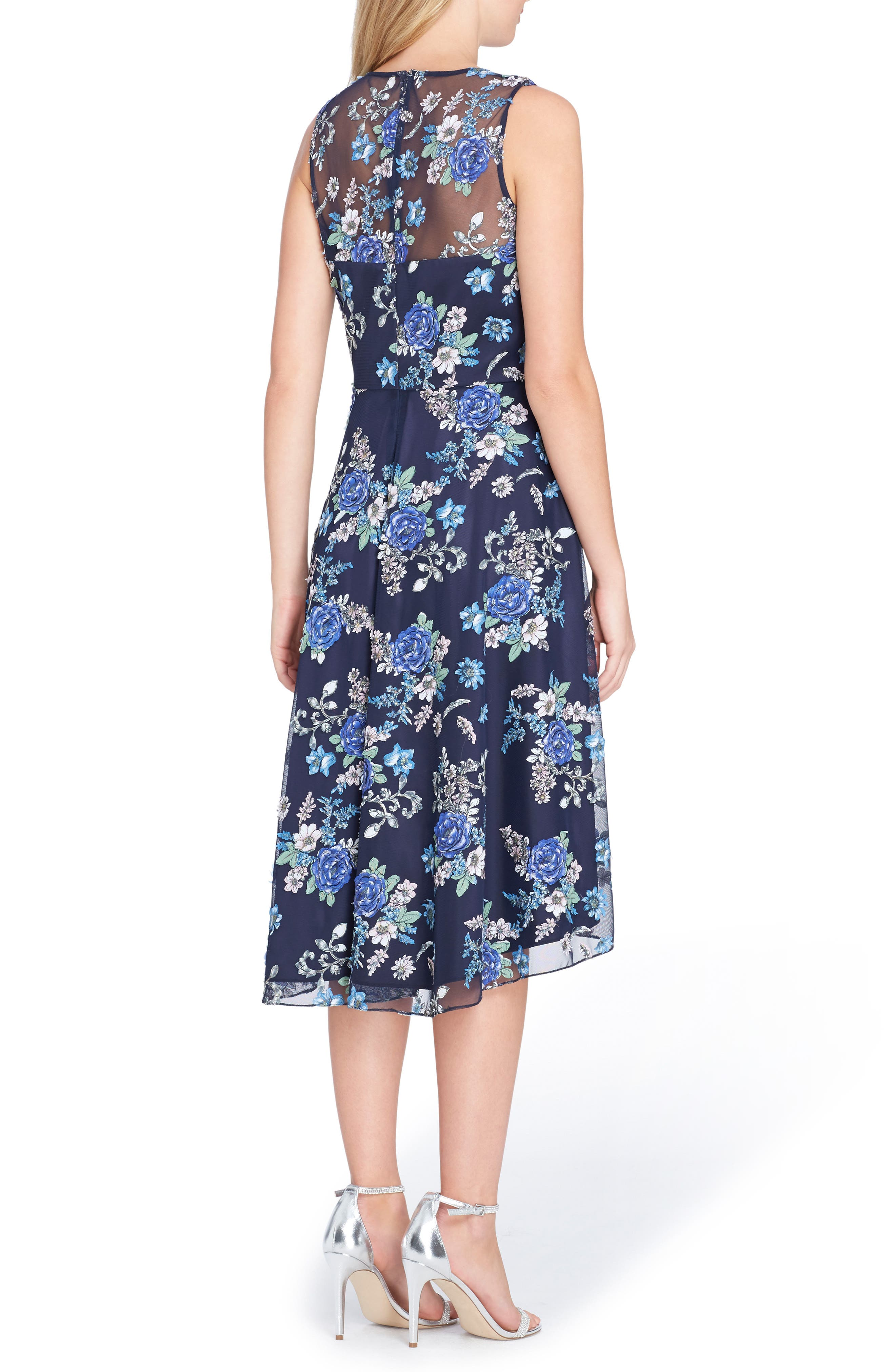 Embroidered Floral High/Low Dress,                             Alternate thumbnail 2, color,                             Navy/ Royal/ Ivory