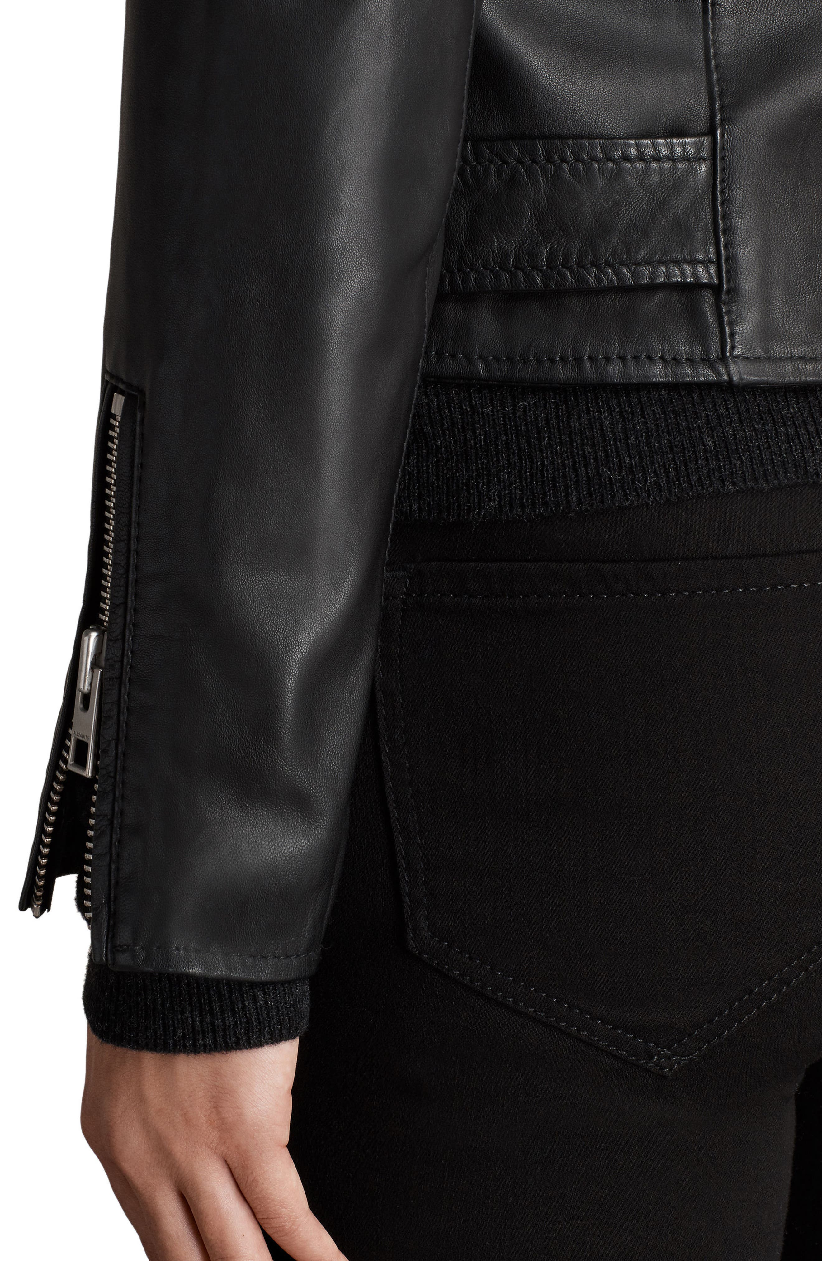 Balfern Leather Biker Jacket,                             Alternate thumbnail 4, color,                             Black