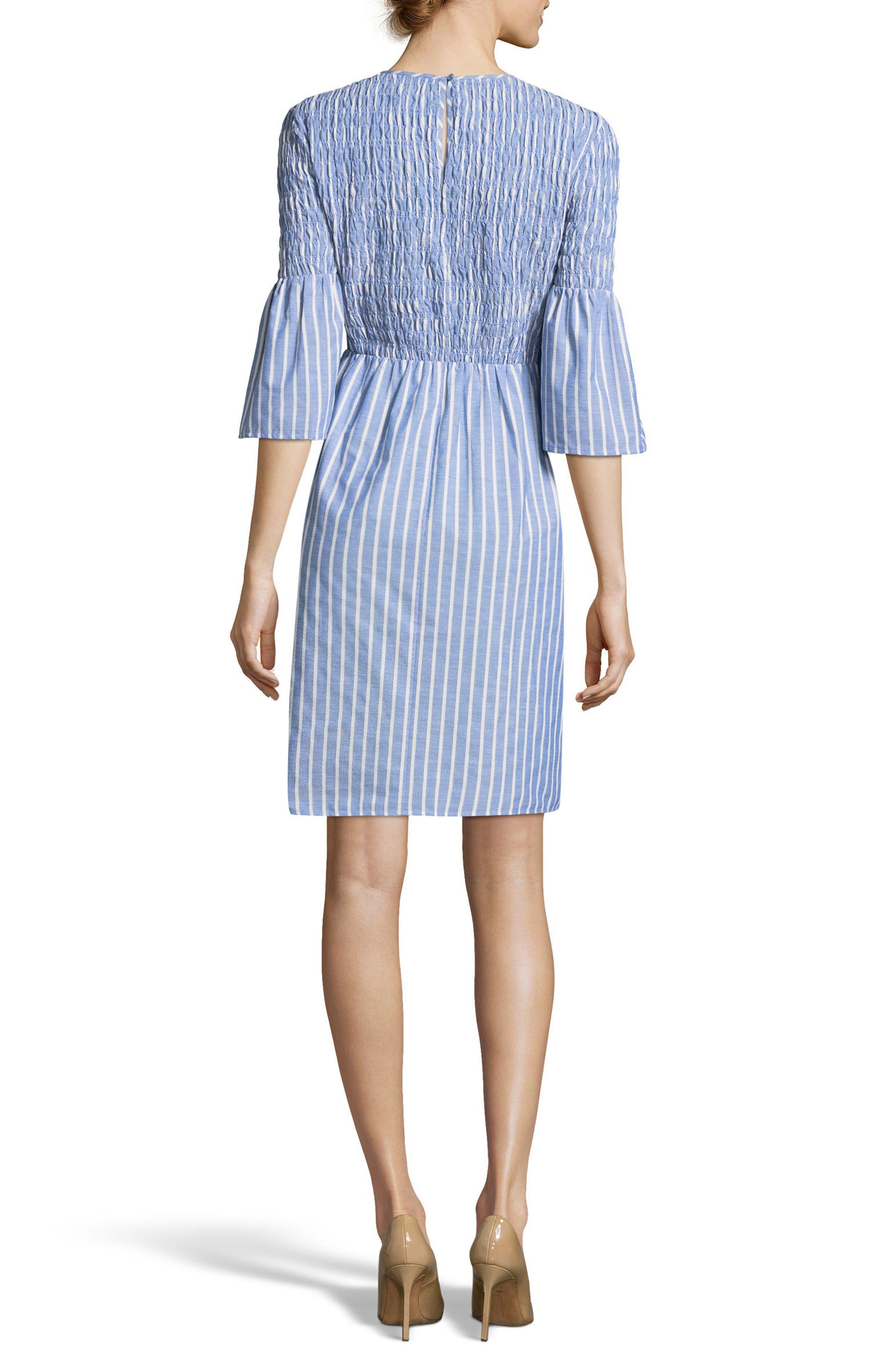 Smocked Fit & Flare Dress,                             Alternate thumbnail 2, color,                             Blue/ Ivory