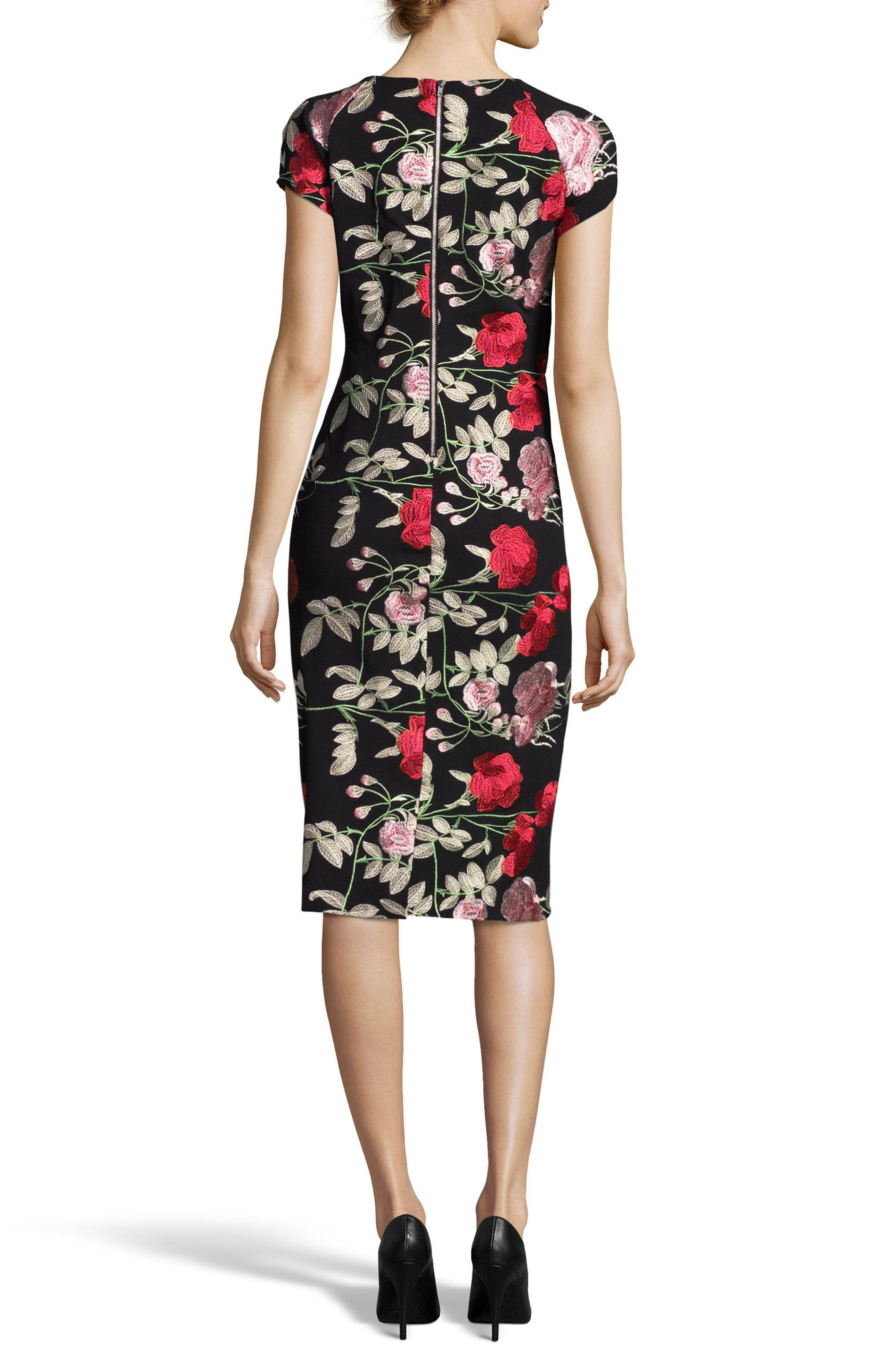 Embroidered Sheath Dress,                             Alternate thumbnail 2, color,                             Black/ Blush