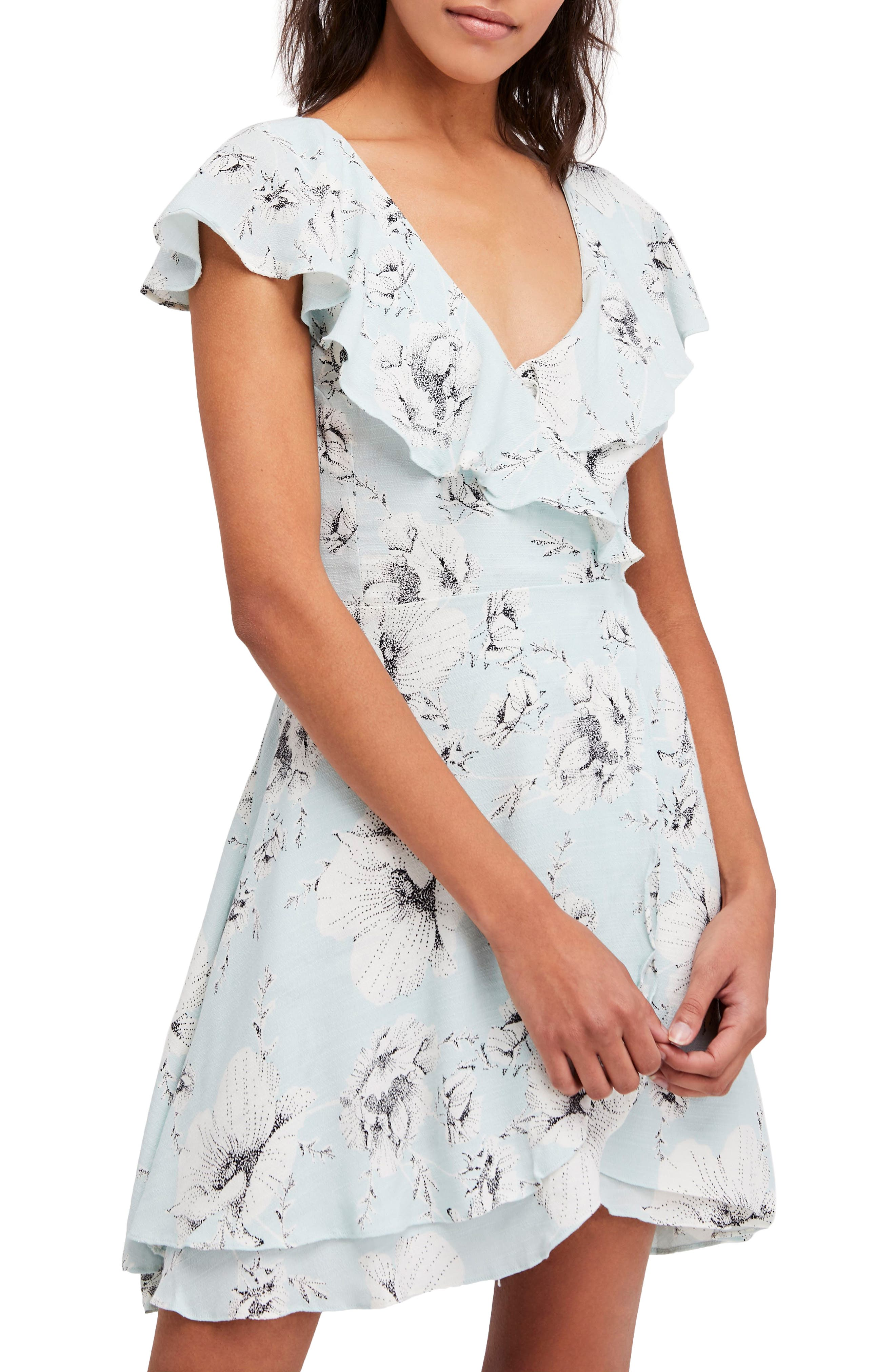 French Quarter Print Wrap Minidress,                         Main,                         color, Mint