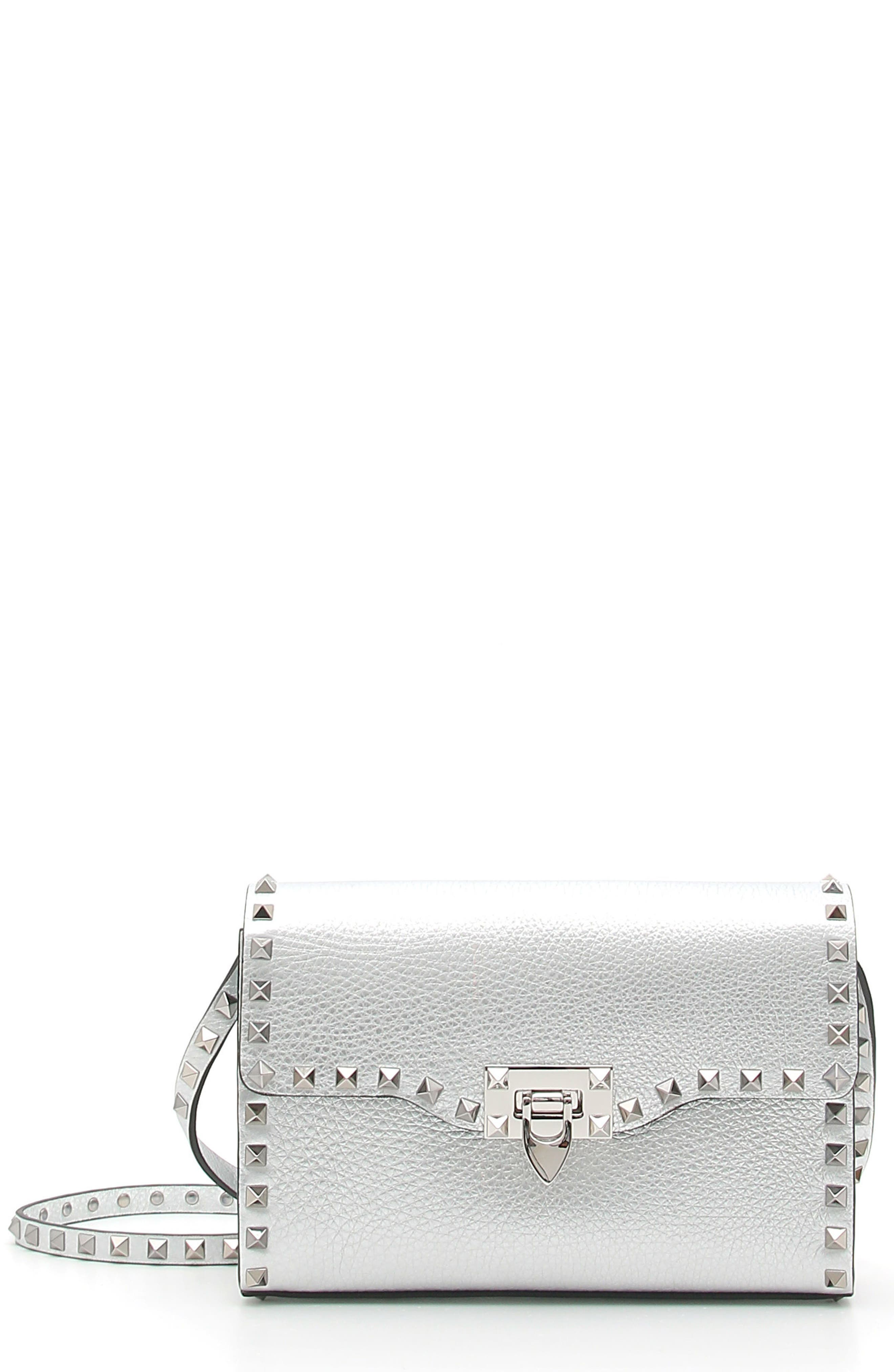 VALENTINO GARAVANI Rockstud Medium Metallic Leather Crossbody Bag