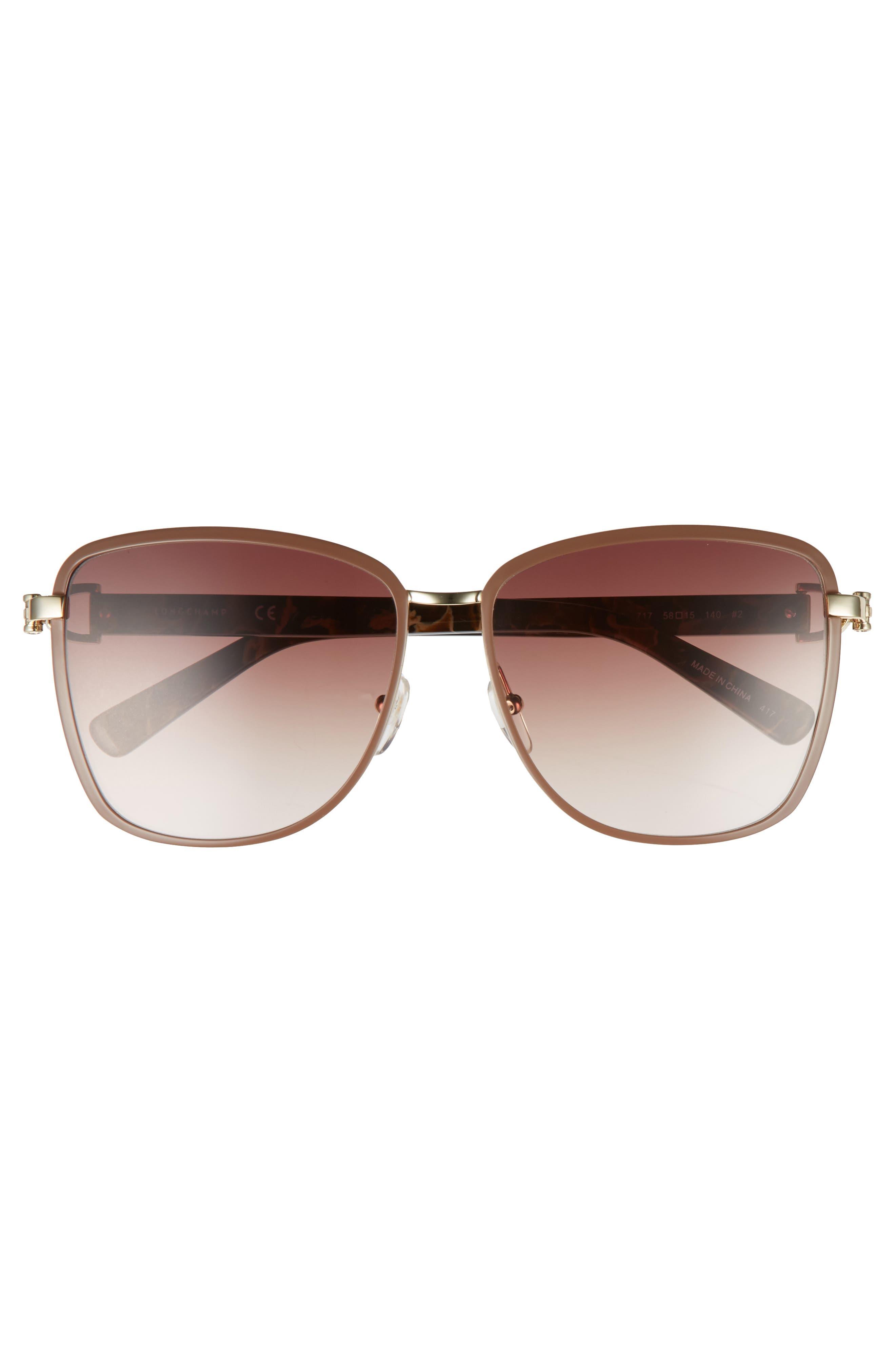 58mm Metal Sunglasses,                             Alternate thumbnail 3, color,                             Gold/ Brown
