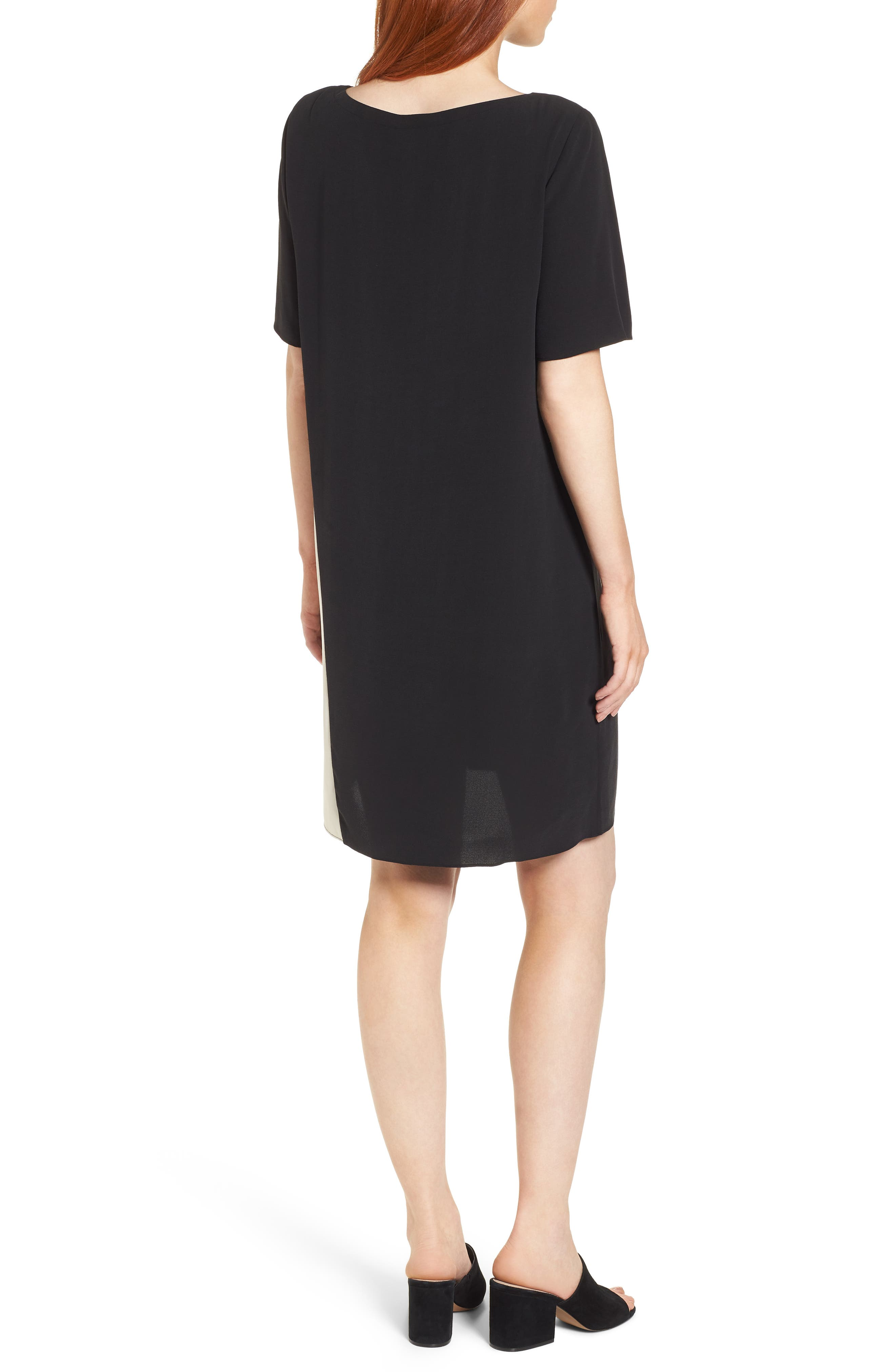 Colorblock Silk Georgette Crepe Dress,                             Alternate thumbnail 3, color,                             Black