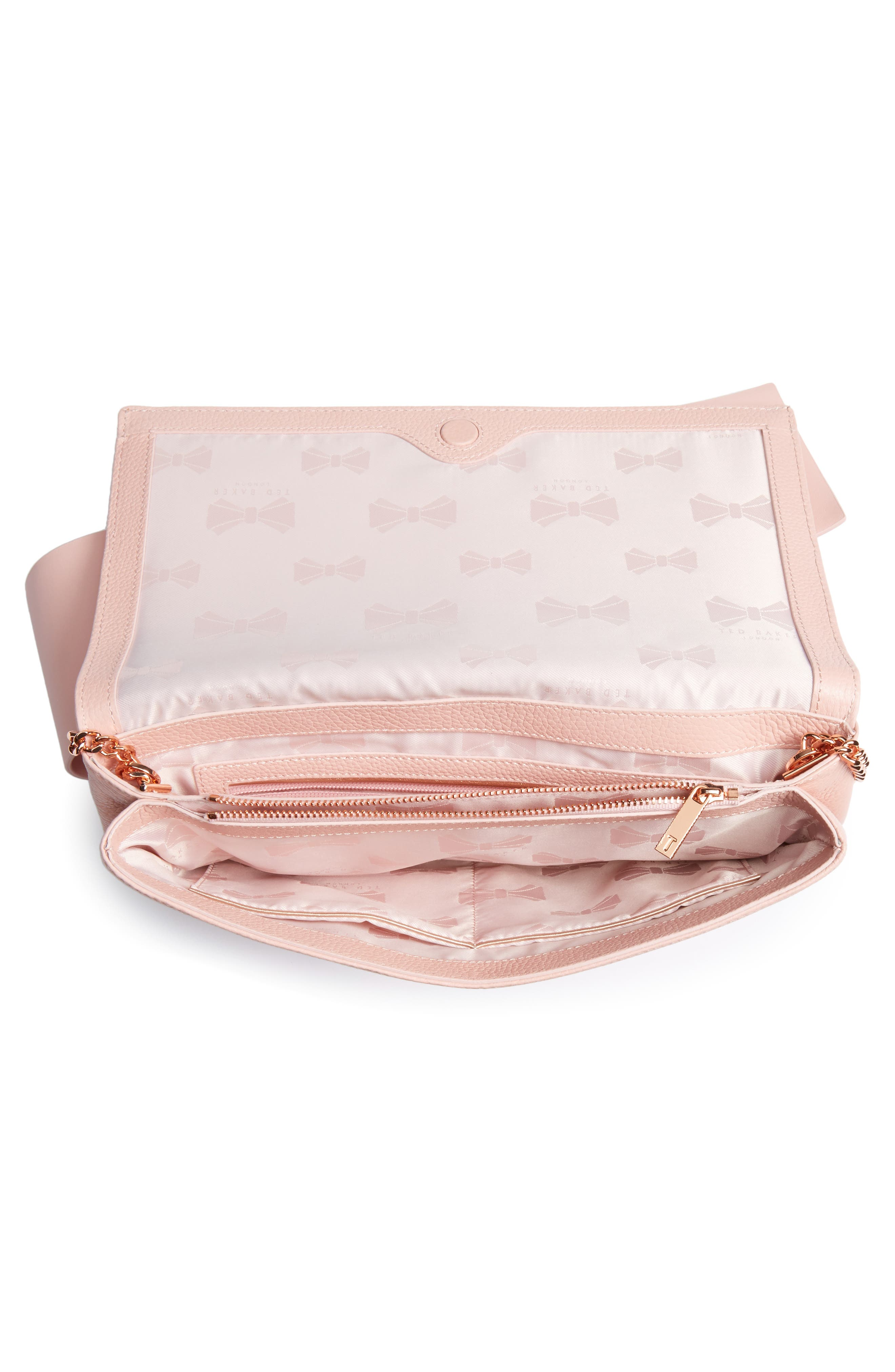 Knotted Bow Leather Clutch,                             Alternate thumbnail 4, color,                             Light Pink