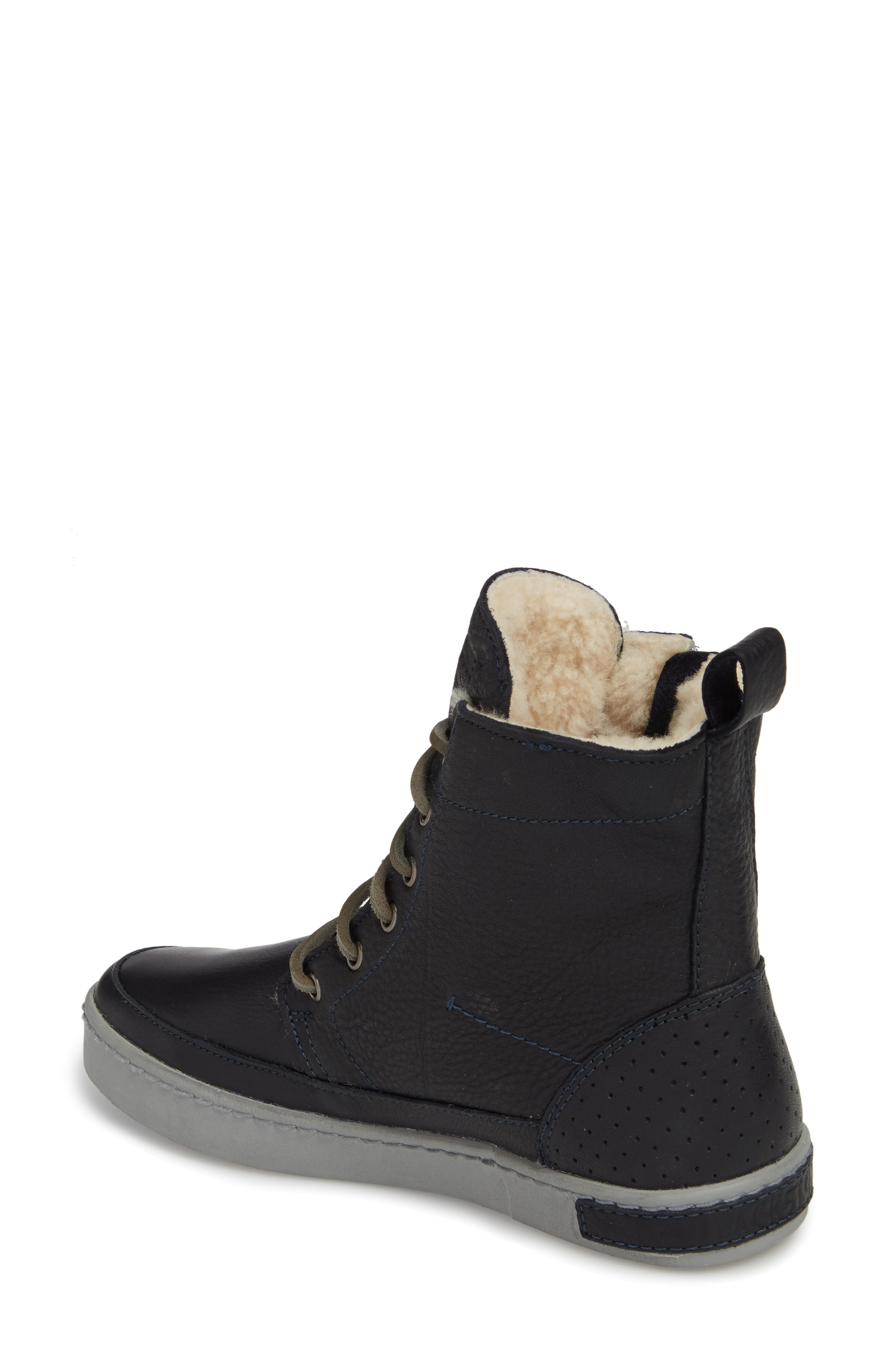 'CW96' Genuine Shearling Lined Sneaker Boot,                             Alternate thumbnail 2, color,                             Dark Indigo Leather
