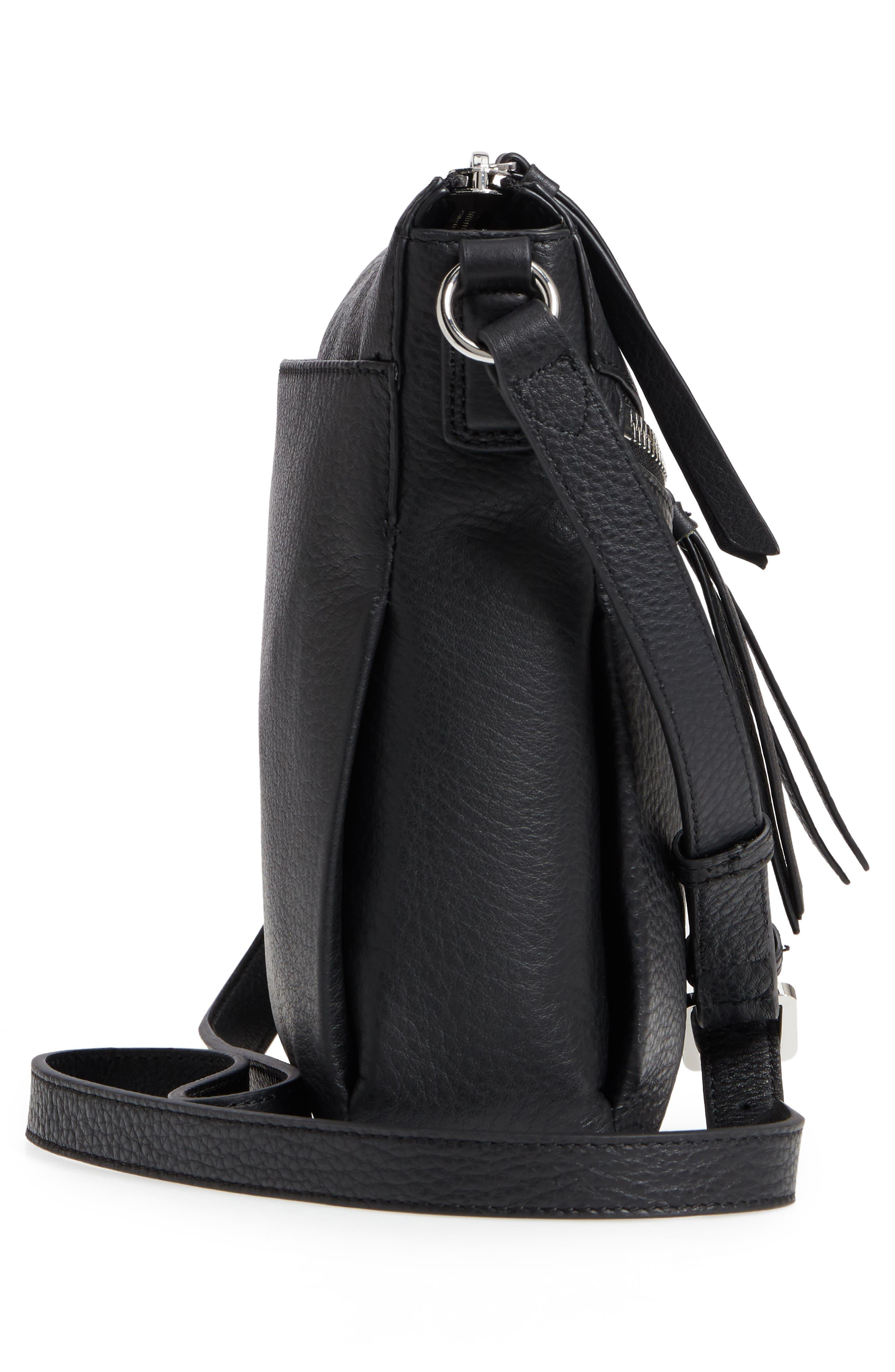 Staja Leather Crossbody Bag,                             Alternate thumbnail 6, color,                             Nero