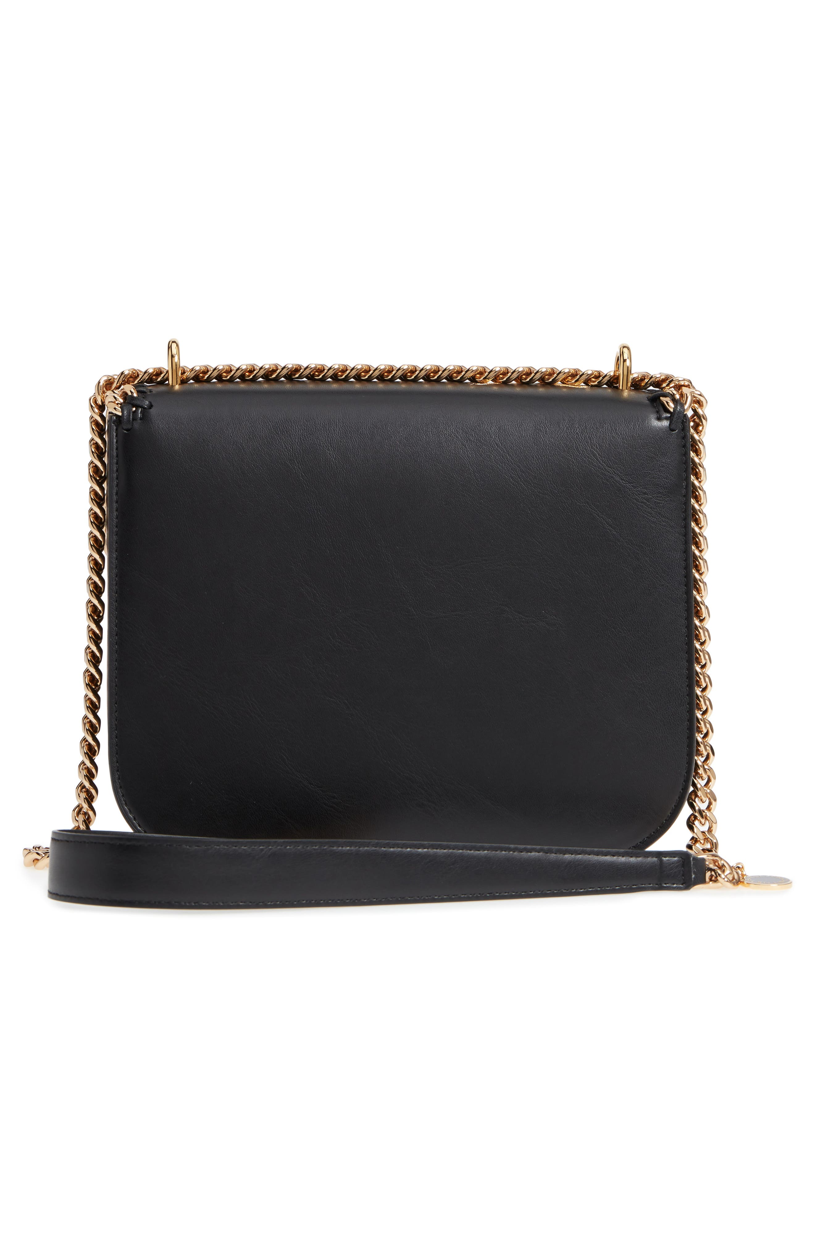 Falabella Hawaiian Embroidered Faux Leather Shoulder Bag,                             Alternate thumbnail 3, color,                             Black/ Gold