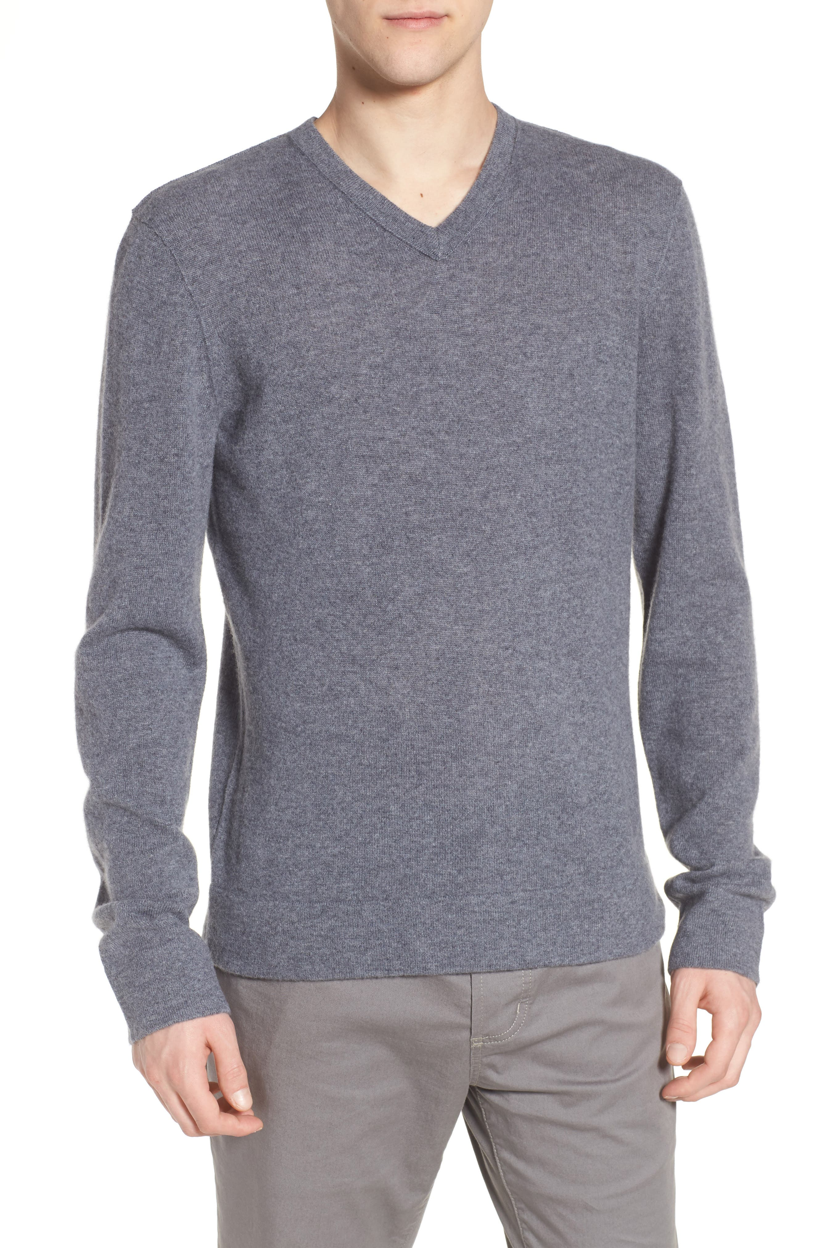 Cashmere V-Neck Sweater,                             Main thumbnail 1, color,                             Flannel