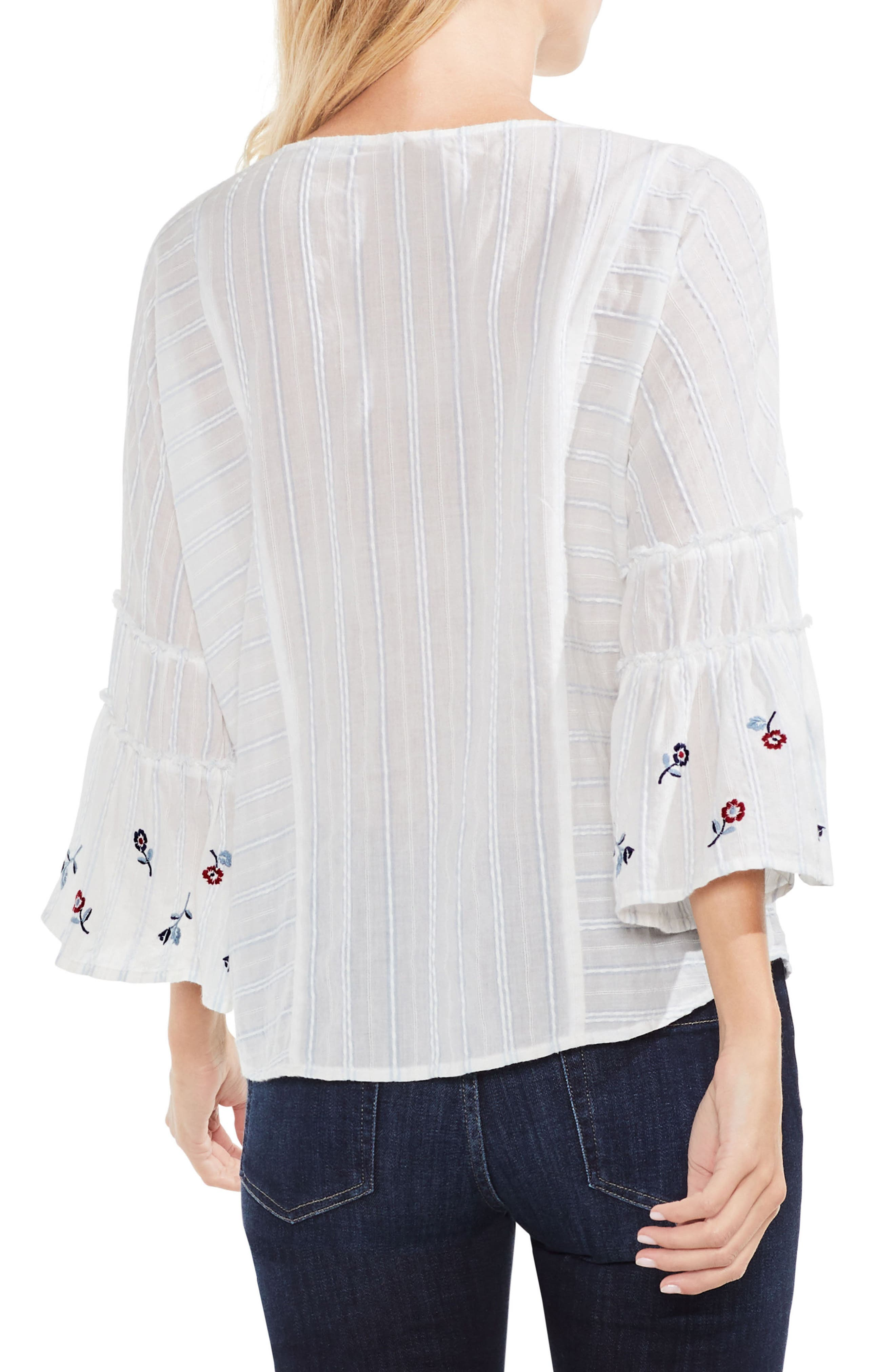 Ruffle Bell Sleeve Stripe Embroidered Blouse,                             Alternate thumbnail 2, color,                             Still Water