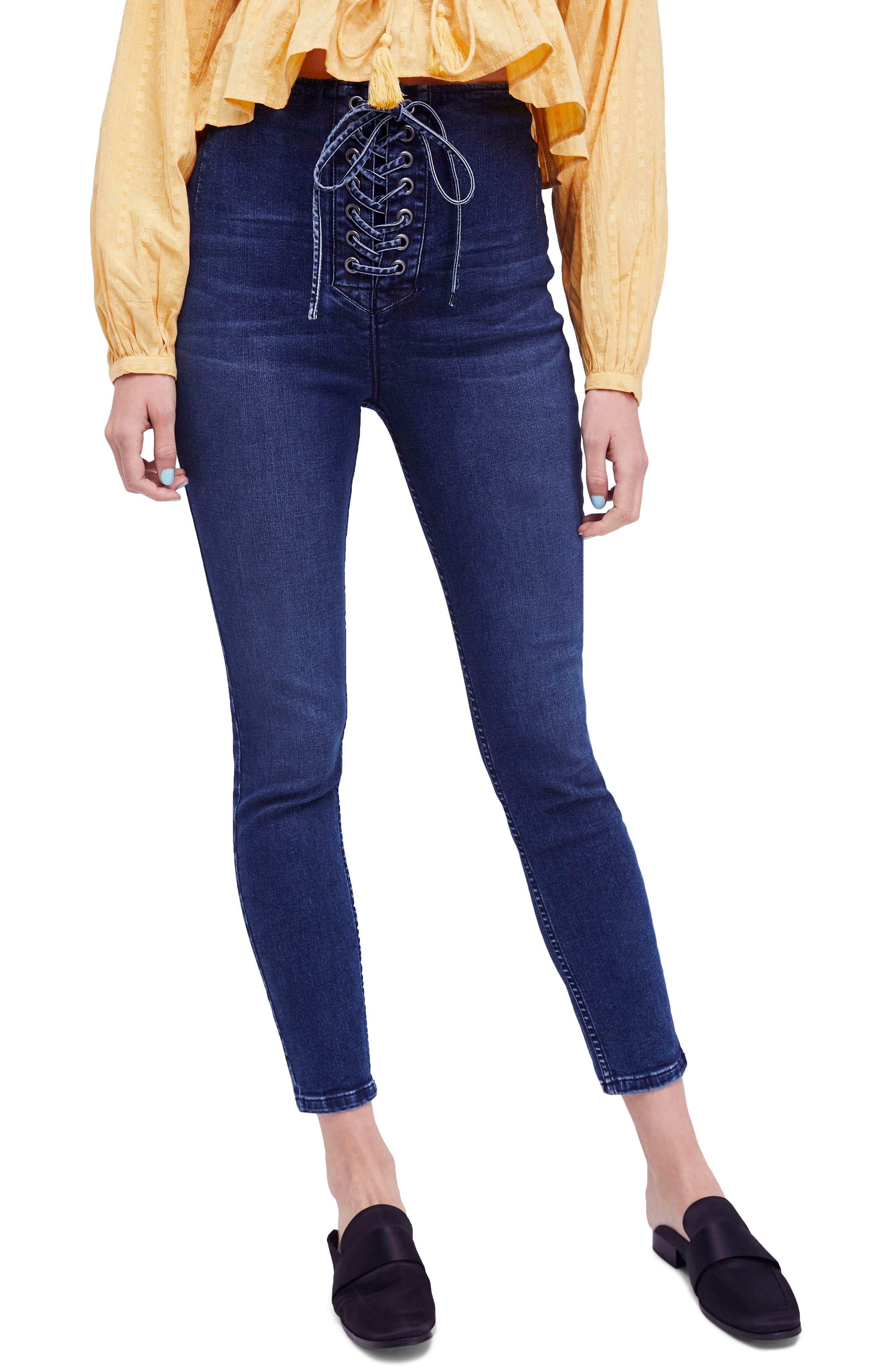 Lace-Up High Waist Denim Leggings,                         Main,                         color, Blue