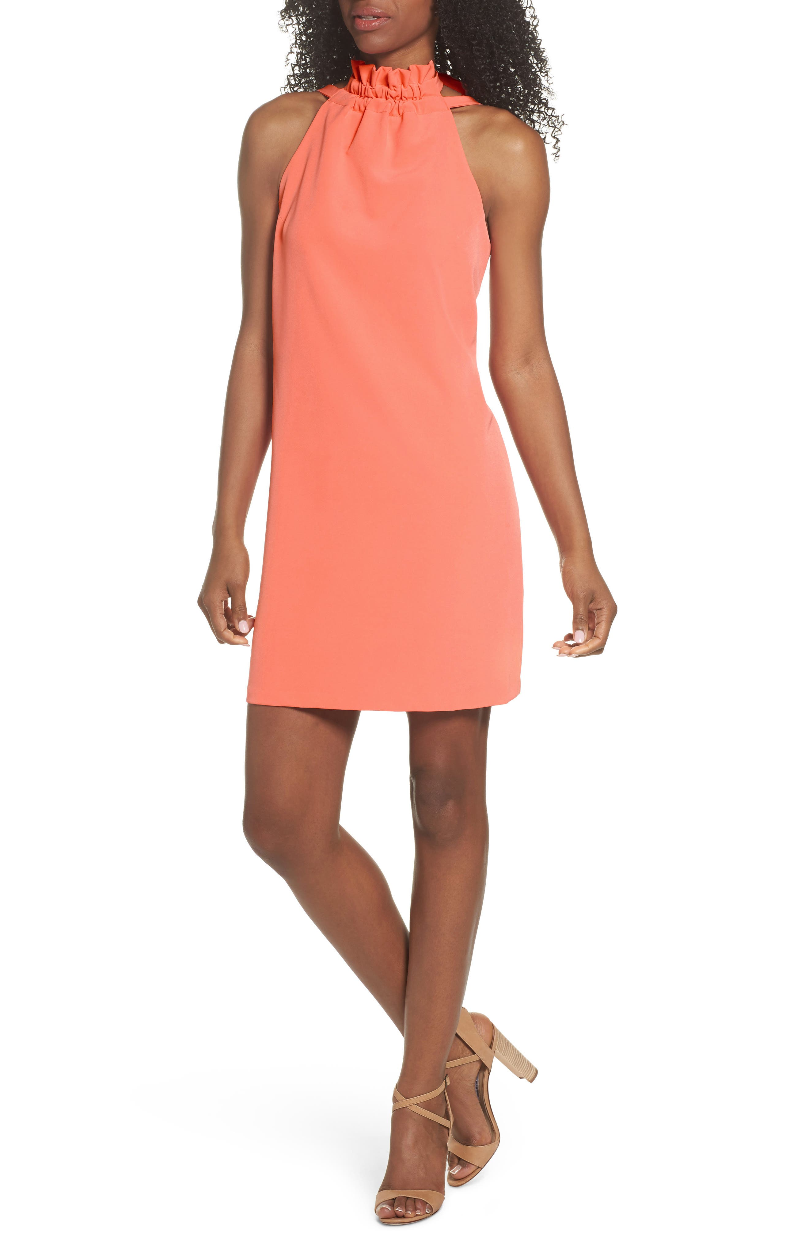 Halter Shift Dress,                         Main,                         color, Sun Salmon