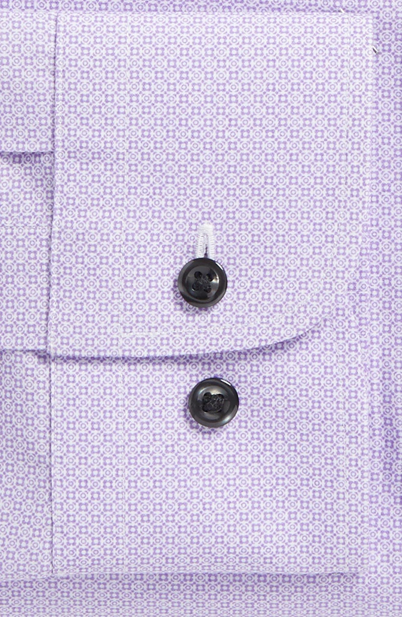 Trim Fit Geometric Dress Shirt,                             Alternate thumbnail 5, color,                             Purple Regal