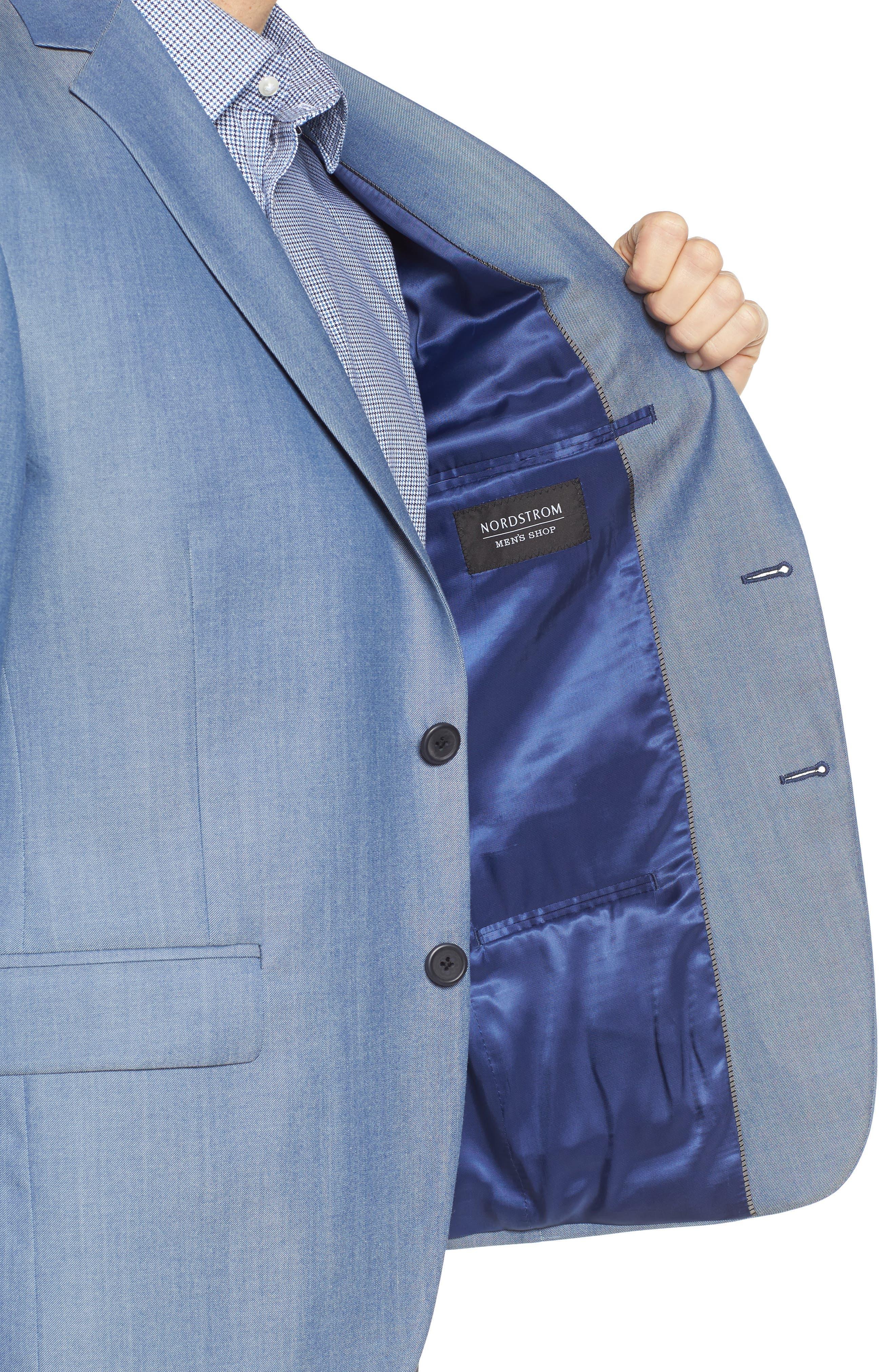 Trim Fit Wool & Cotton Blazer,                             Alternate thumbnail 4, color,                             Blue Denim