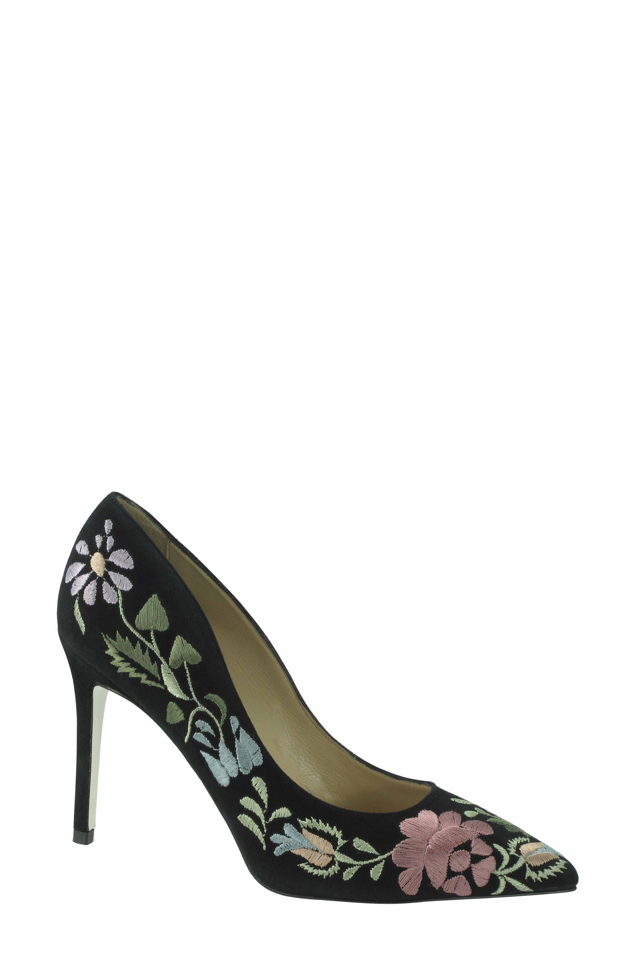 Shana Flower Embroidered Pump,                             Main thumbnail 1, color,                             Onyx Multi Suede