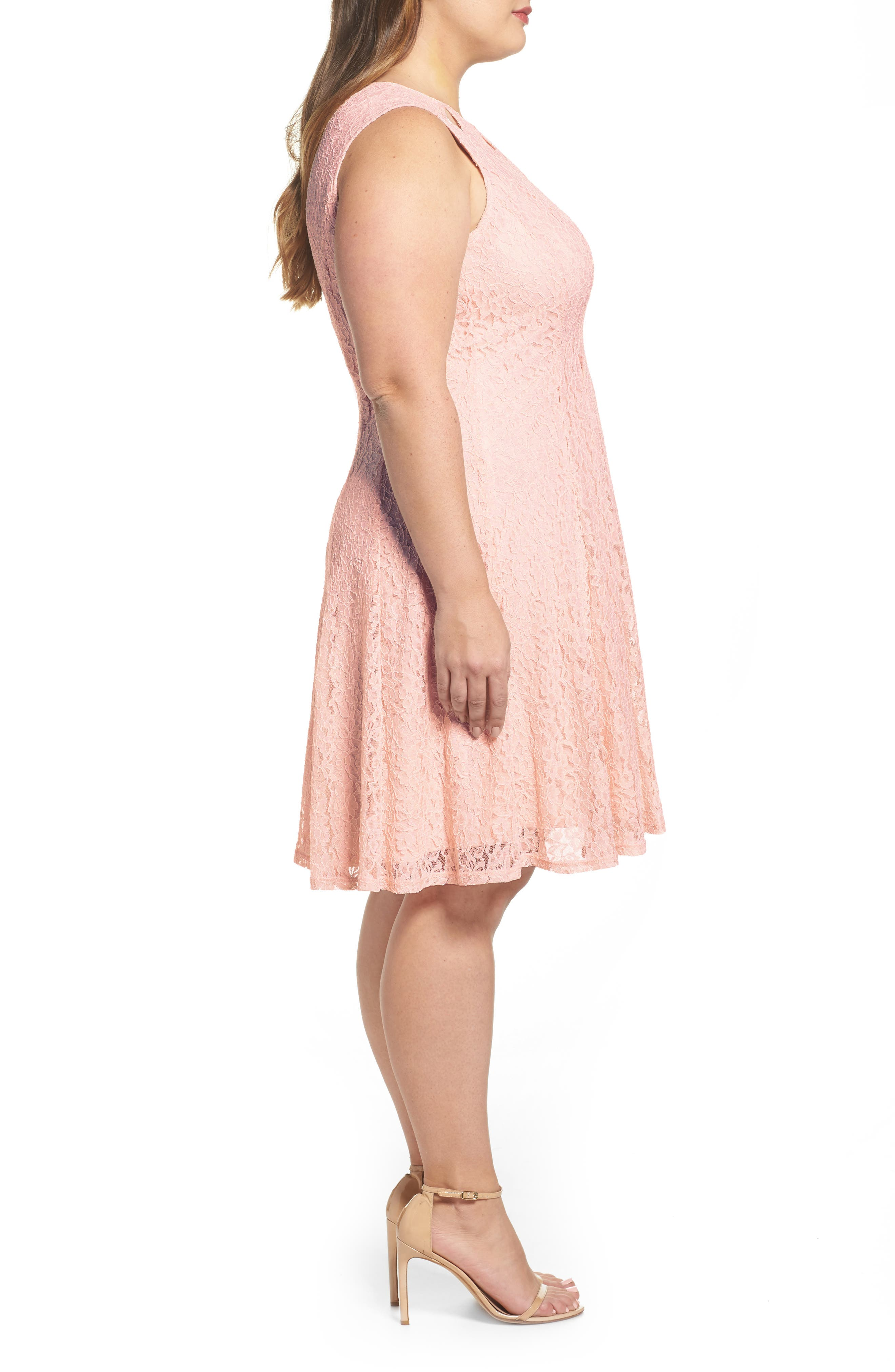 Lace Teardrop Cutout Fit and Flare Dress,                             Alternate thumbnail 3, color,                             Pink/ Pink