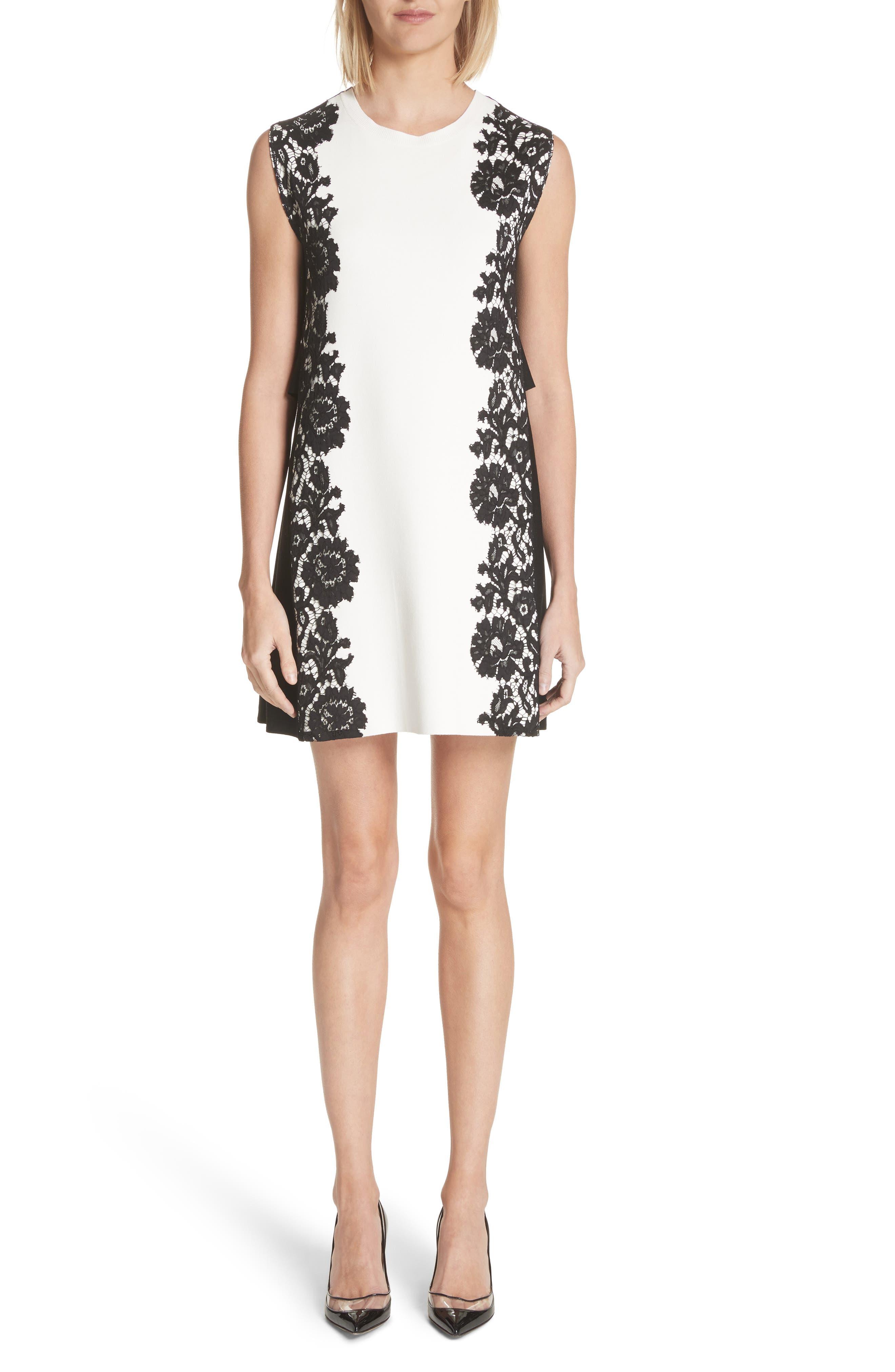 Lace Side Contrast Shift Dress,                             Main thumbnail 1, color,                             Ivory/ Black