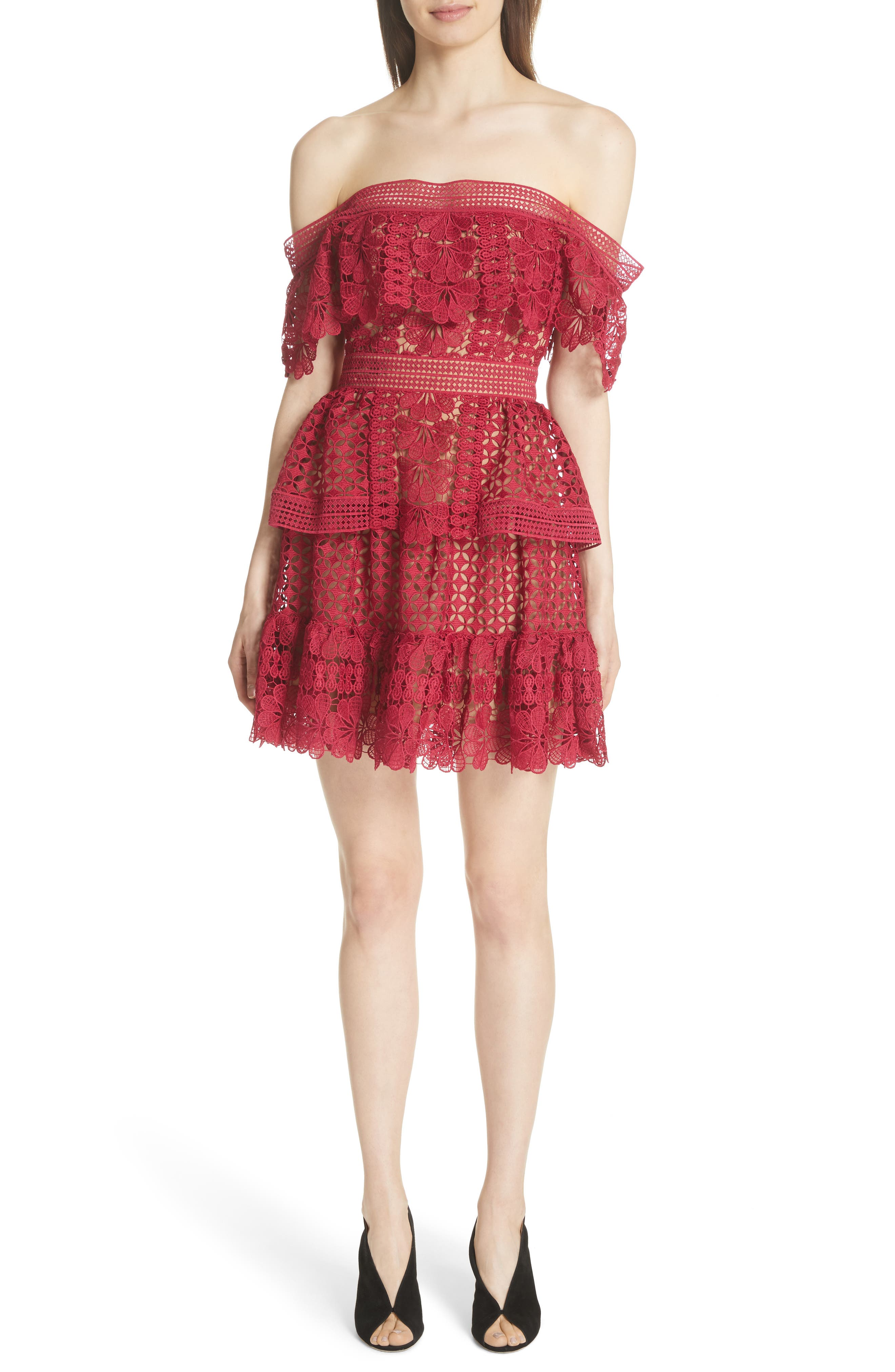 Off the Shoulder Guipure Lace Dress,                         Main,                         color, Red