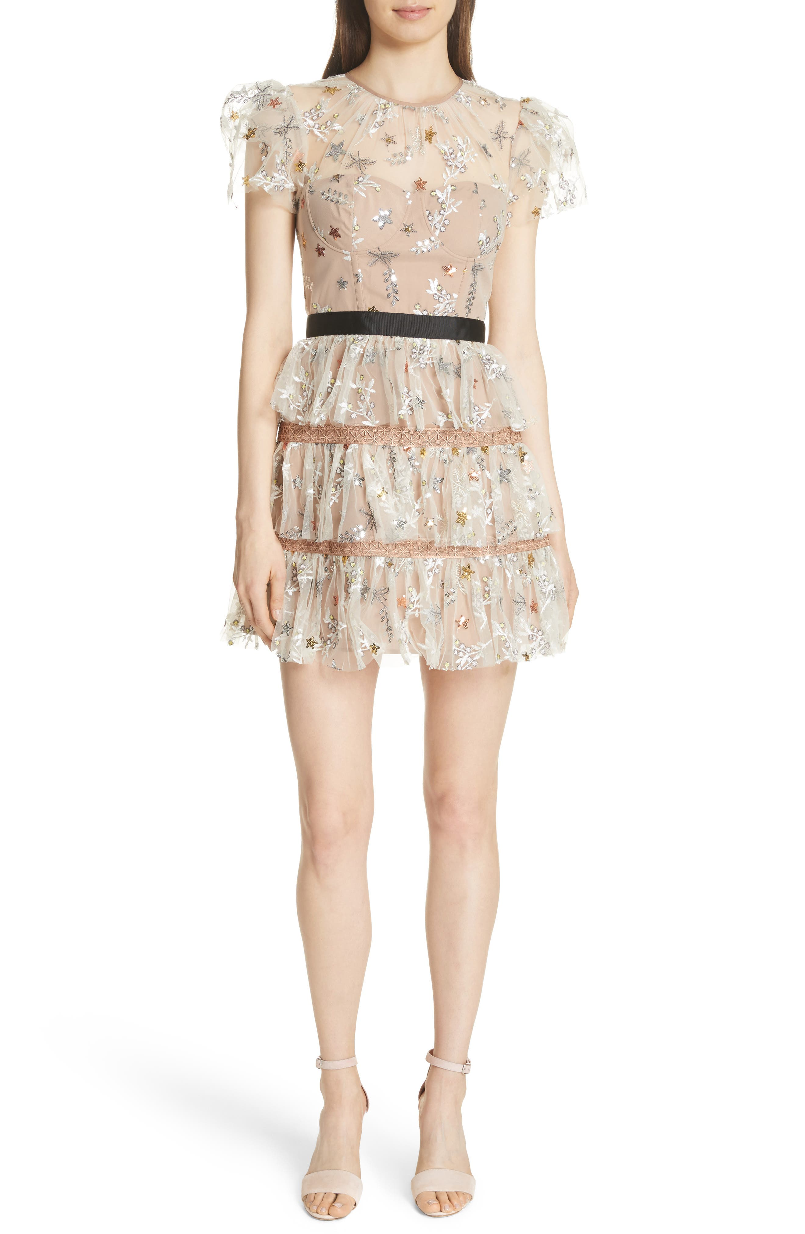 Sequin Mesh Tiered Dress,                         Main,                         color, Nude
