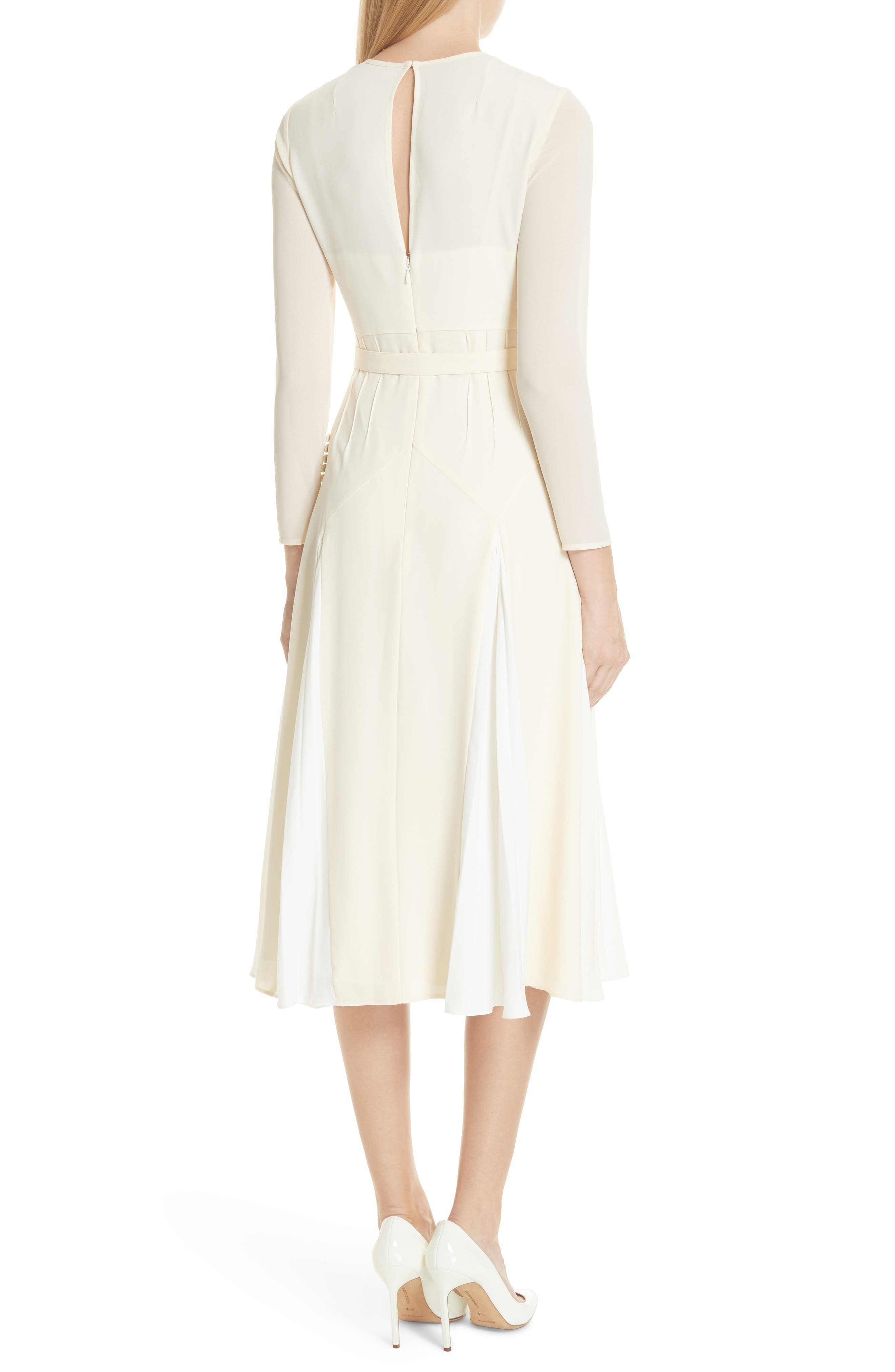 Embroidered Belted Midi Dress,                             Alternate thumbnail 2, color,                             Ivory