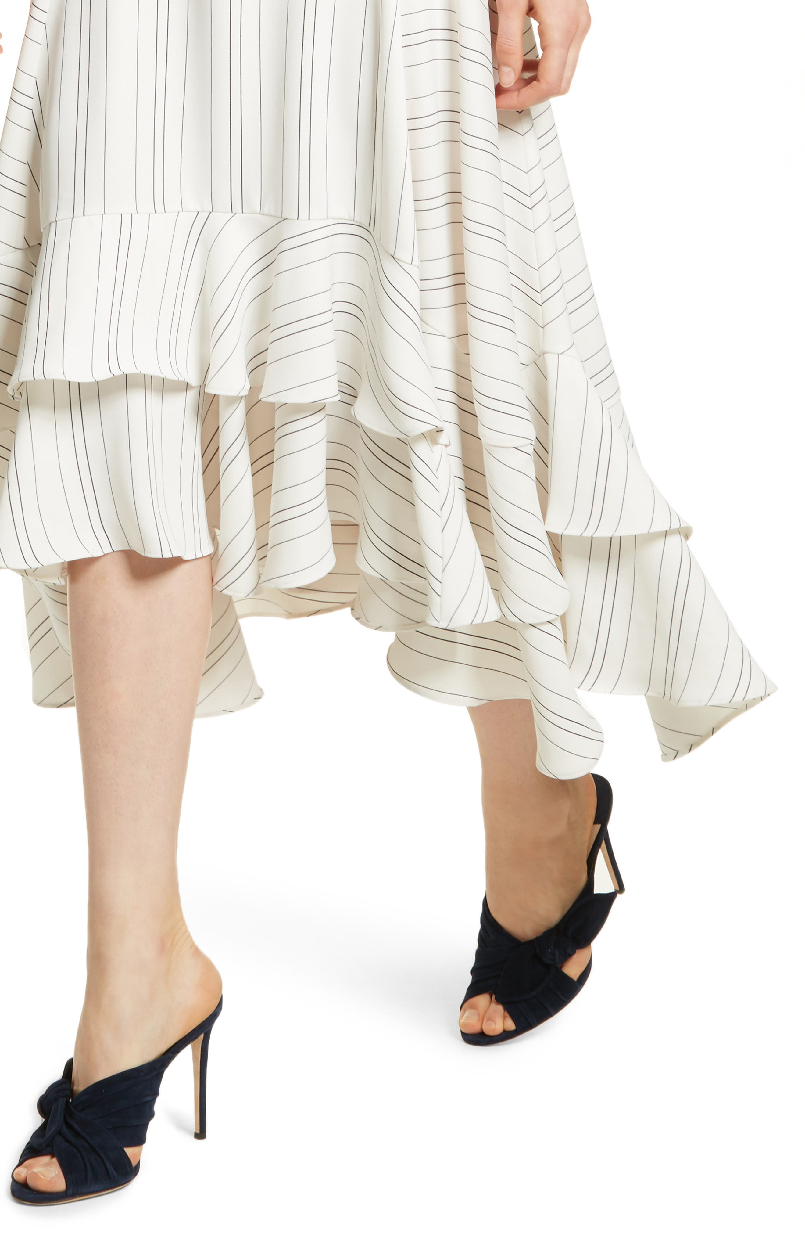 Prose & Poetry Skylar Flare Midi Dress,                             Alternate thumbnail 4, color,                             Light Ecru