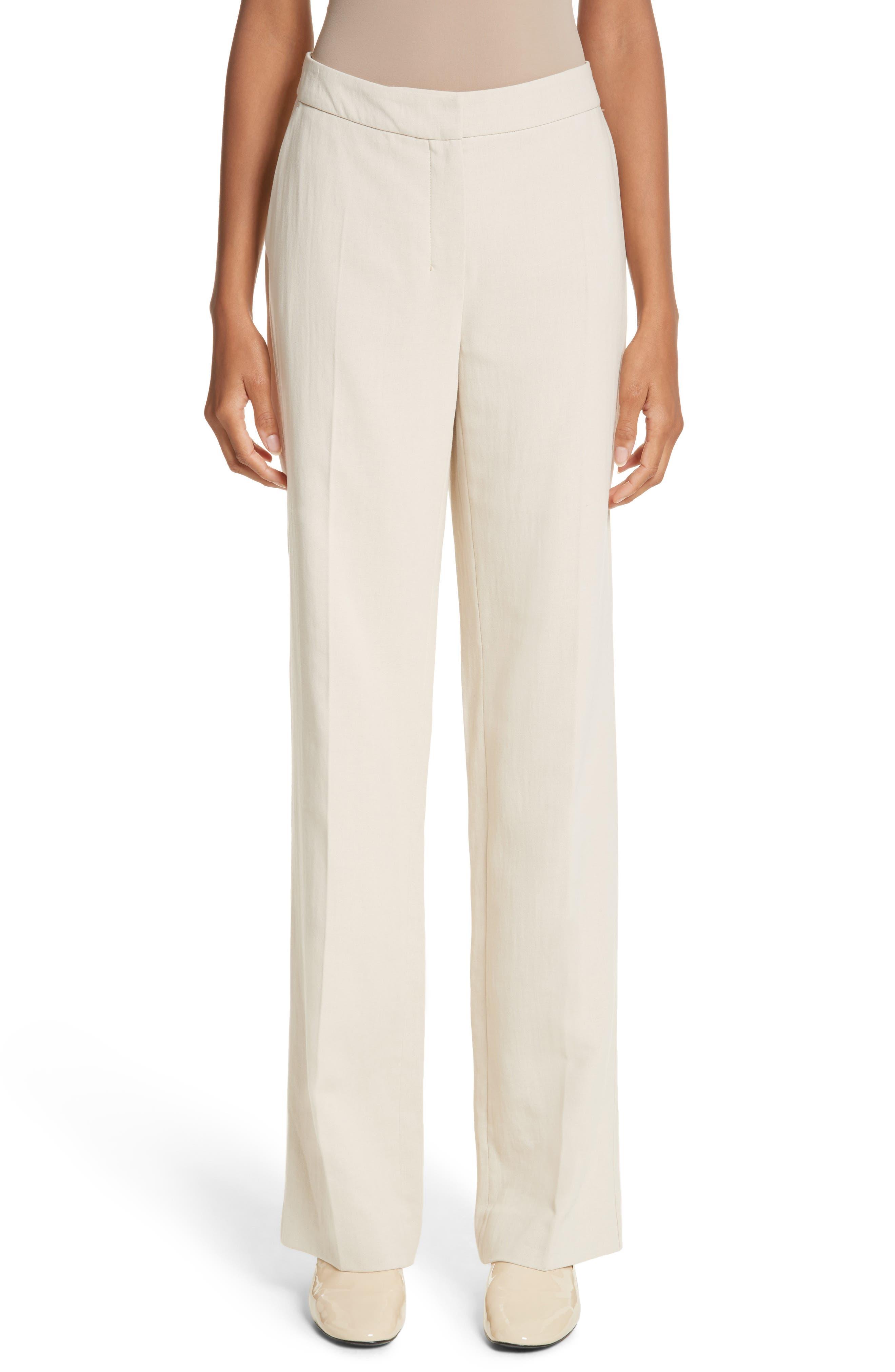 Cursore Cotton Wide Leg Pants,                         Main,                         color, Ivory