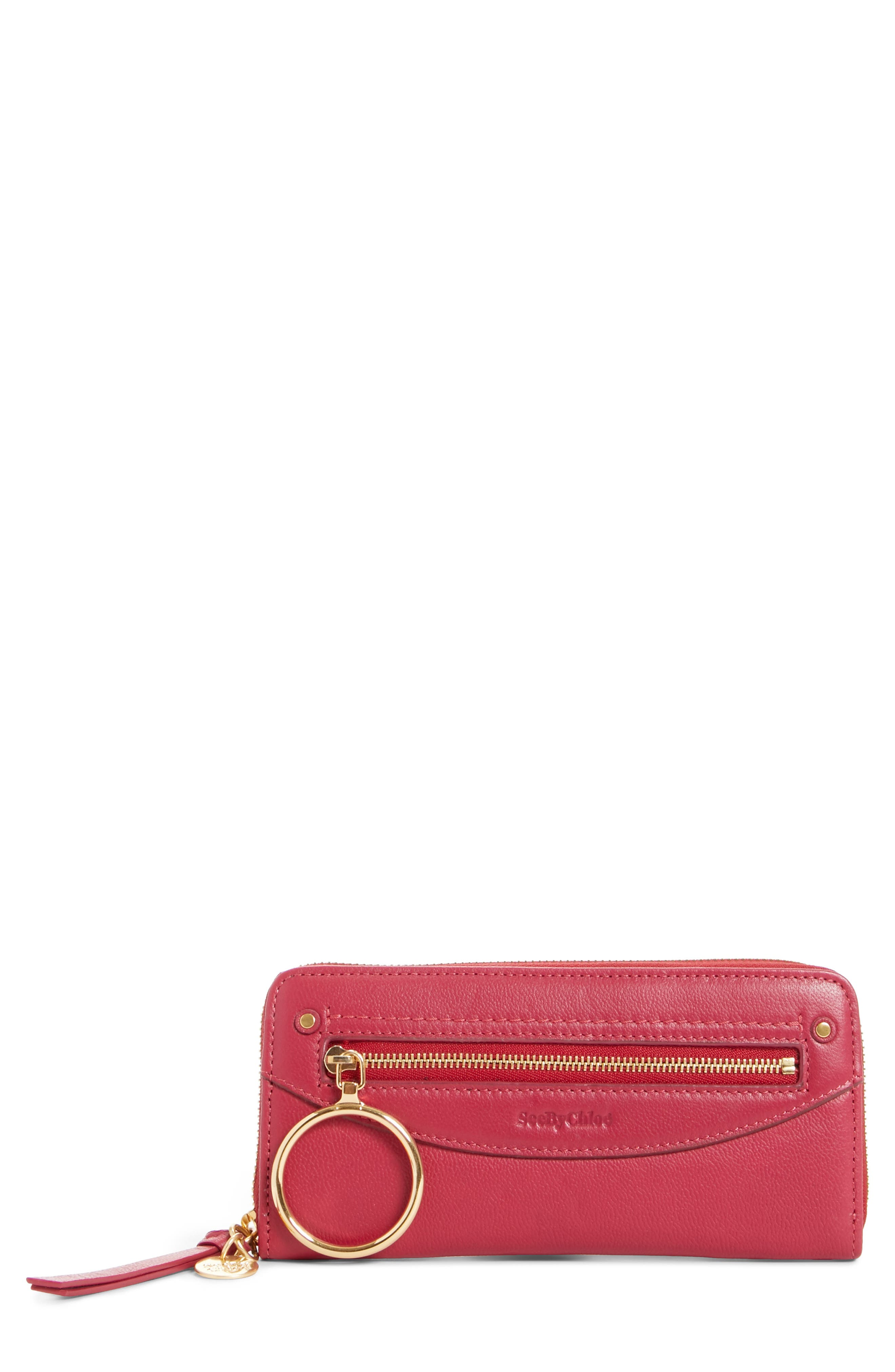 Mino Zip Around Leather Wallet,                         Main,                         color, Berry Pink