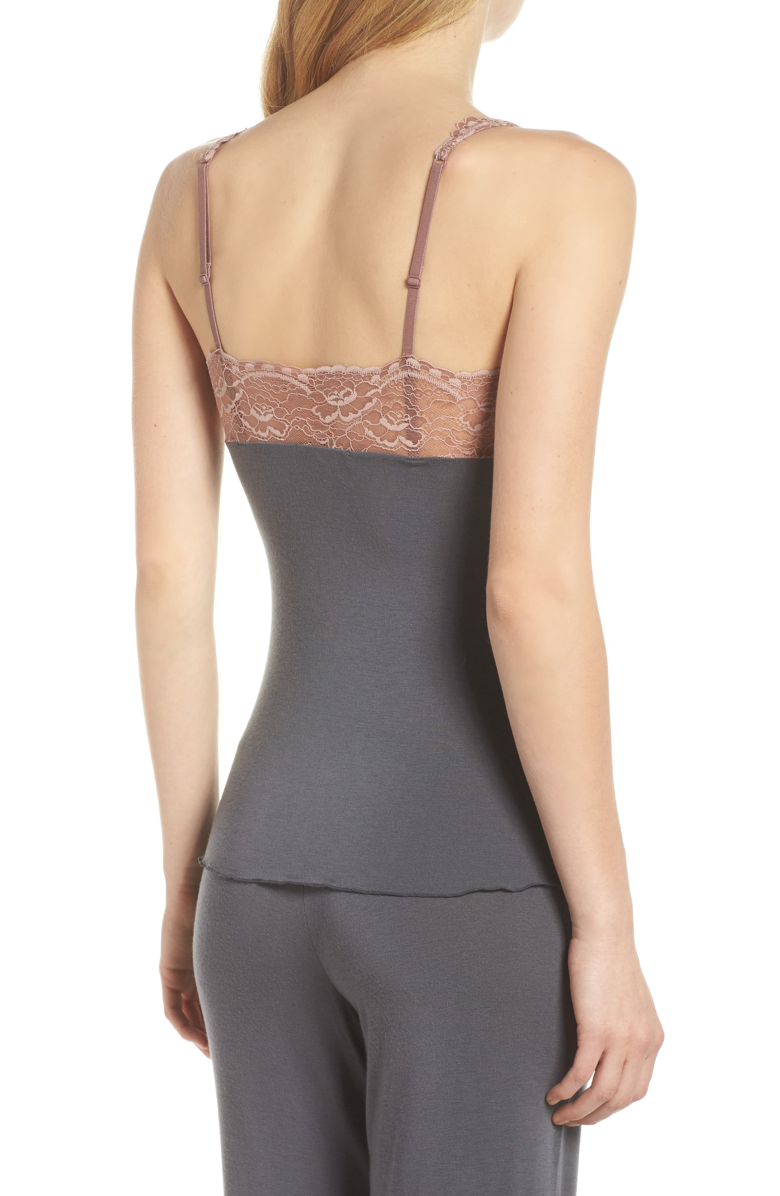 Built Up Camisole,                             Alternate thumbnail 2, color,                             Slate With Java Lace