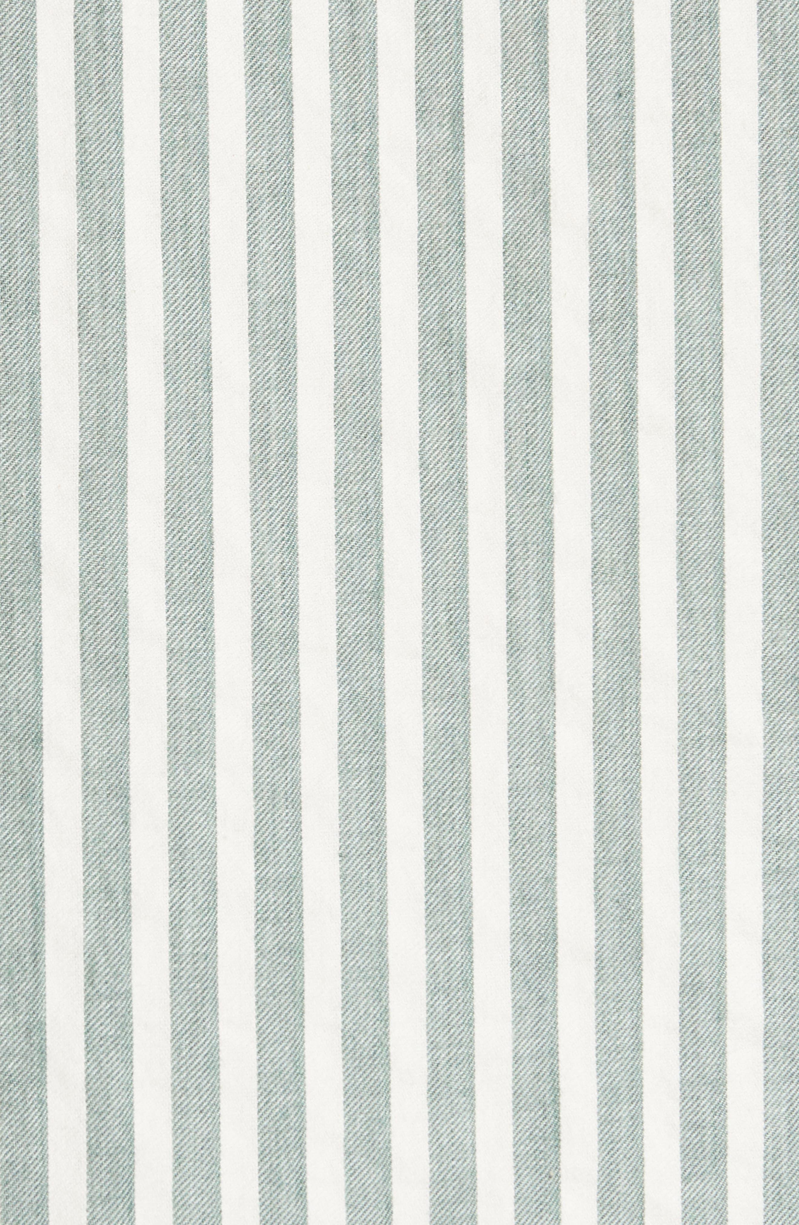 The Tie Sleeve Stripe Shirt,                             Alternate thumbnail 5, color,                             Green Stripe
