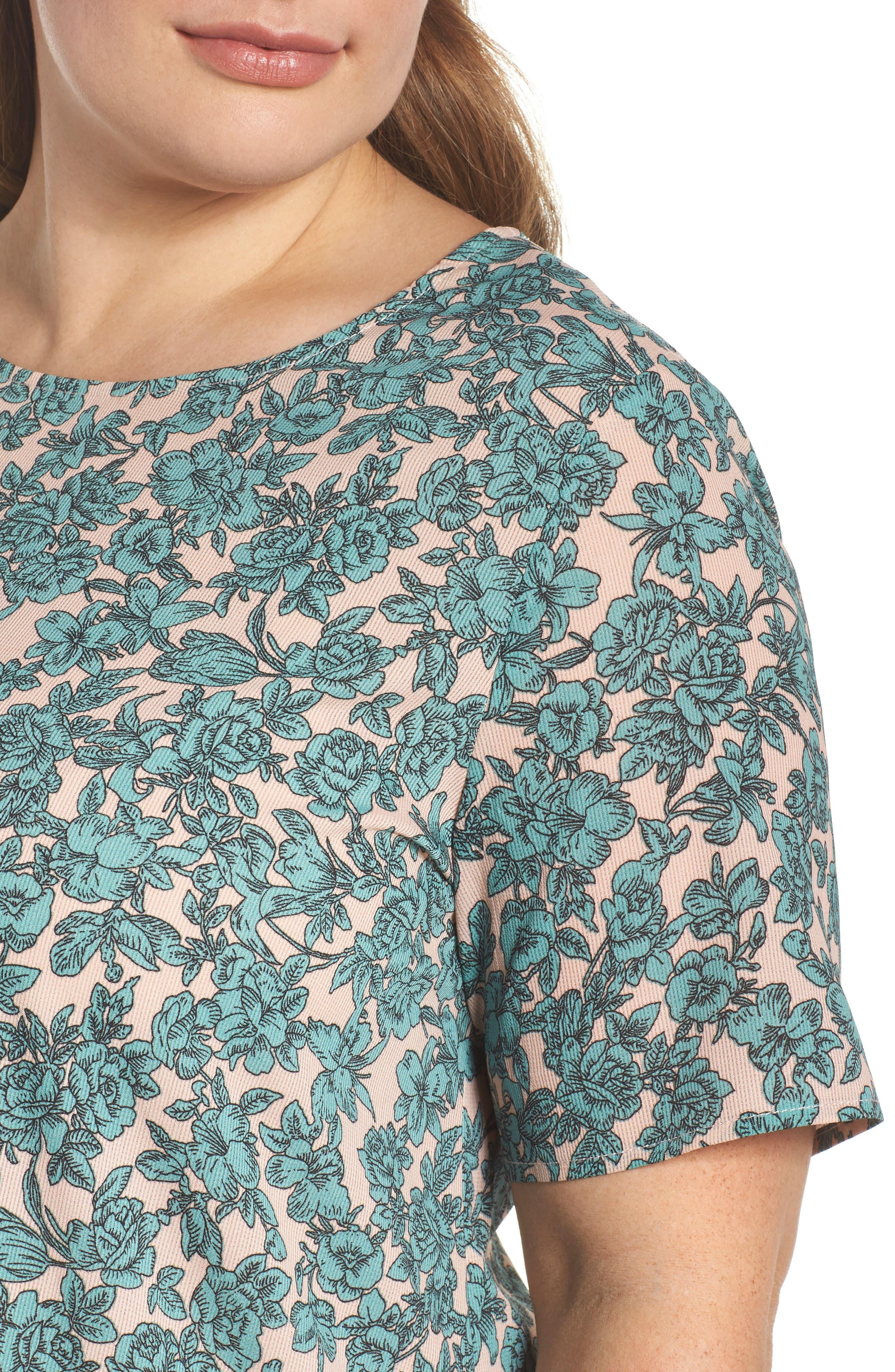 Floral Shift Dress,                             Alternate thumbnail 4, color,                             Sage Green Floral