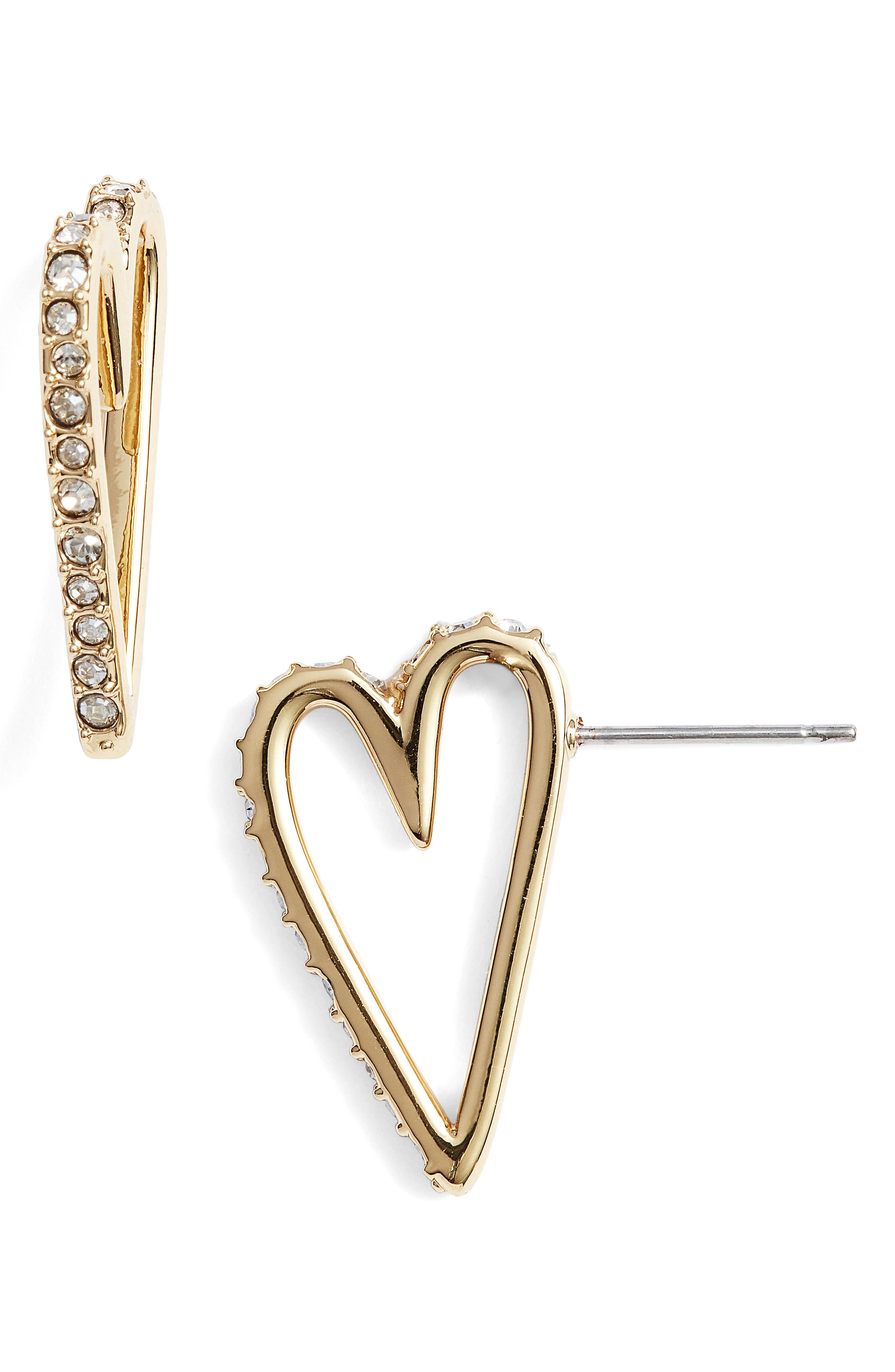 Crystal Accent Open Heart Earrings,                         Main,                         color, Gold
