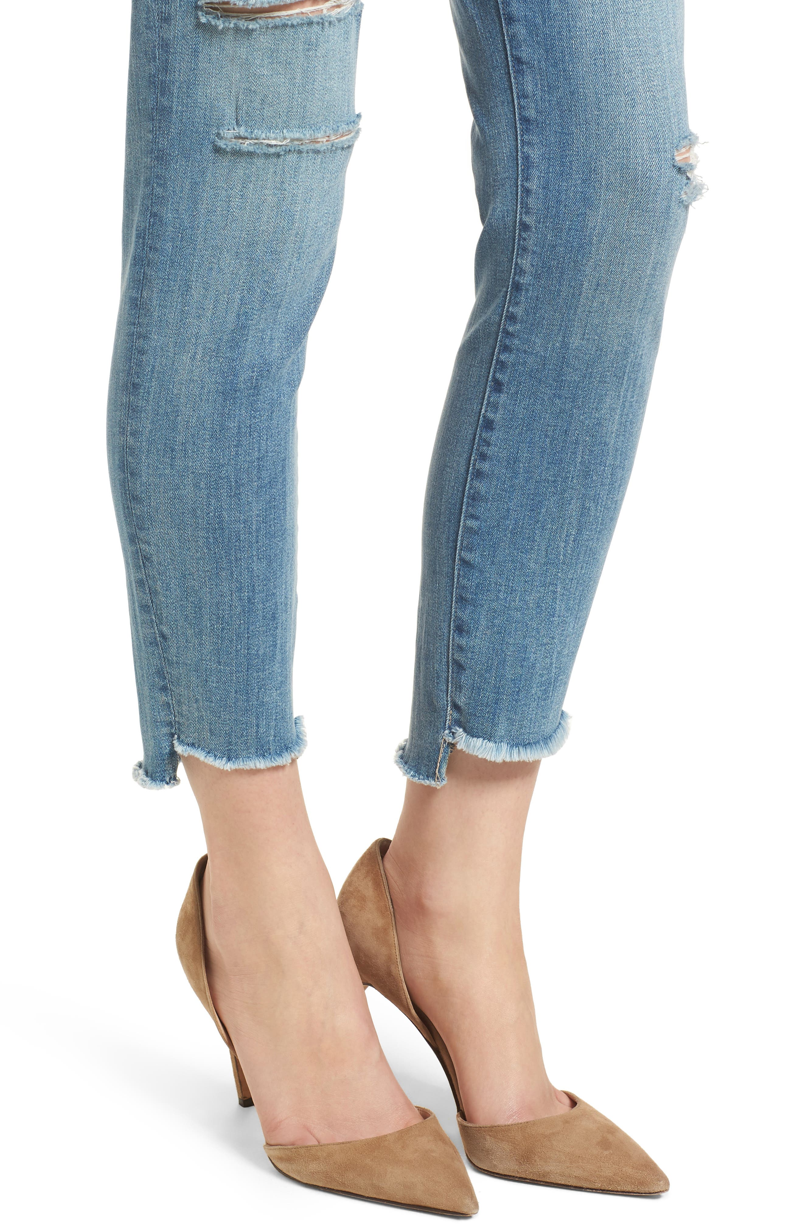 Florence Instasculpt Ripped Crop Skinny Jeans,                             Alternate thumbnail 4, color,                             Hendrix