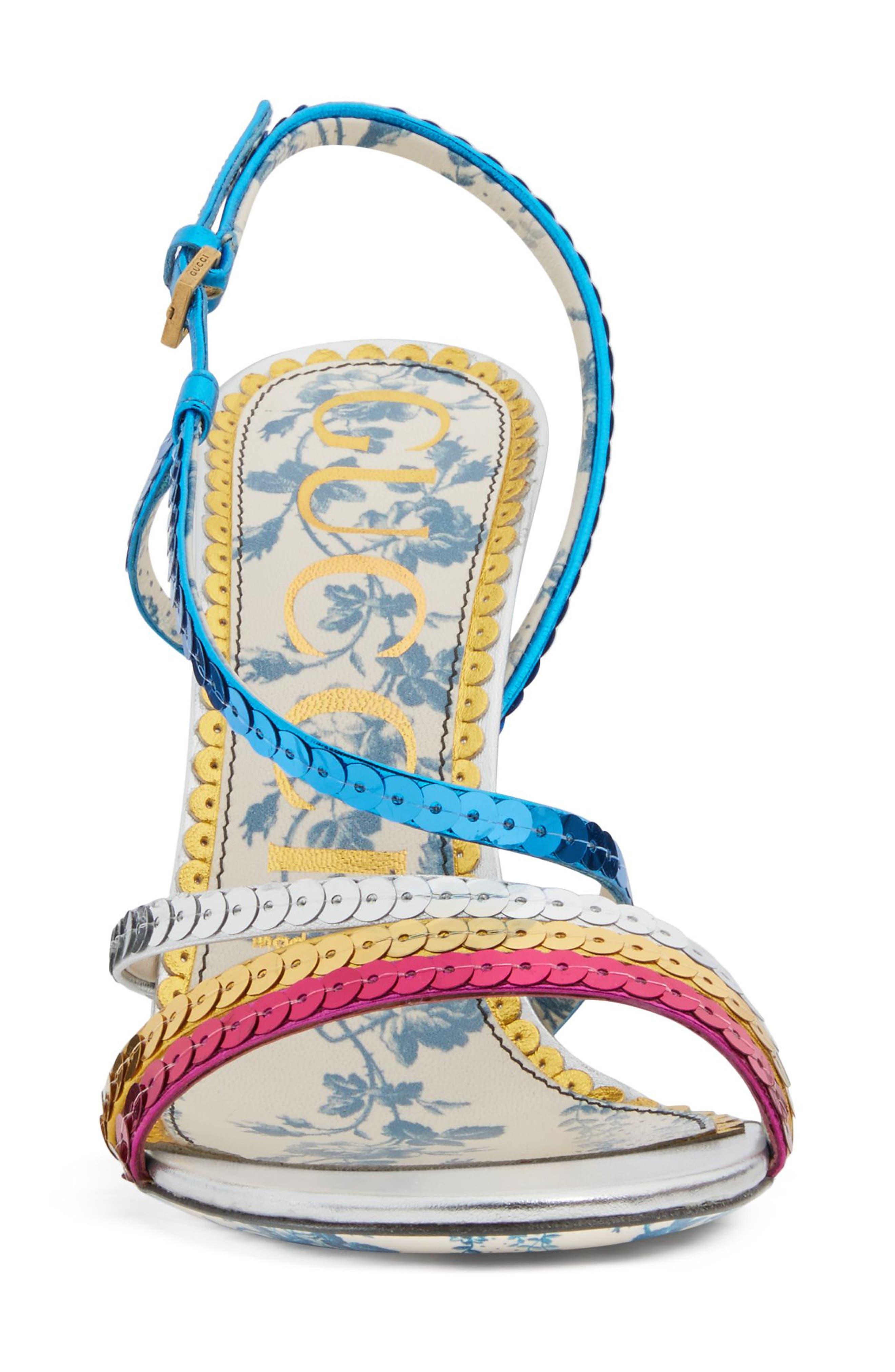 Sequin Sandal,                             Alternate thumbnail 3, color,                             Silver/ Blue/ Pink